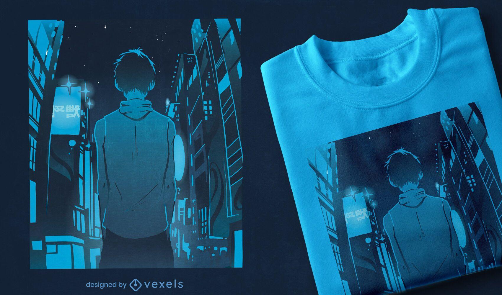 Design de t-shirt de anime boy city walk