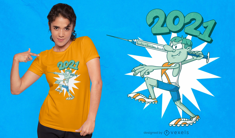 Diseño de camiseta de personaje de decatlón de vacuna.