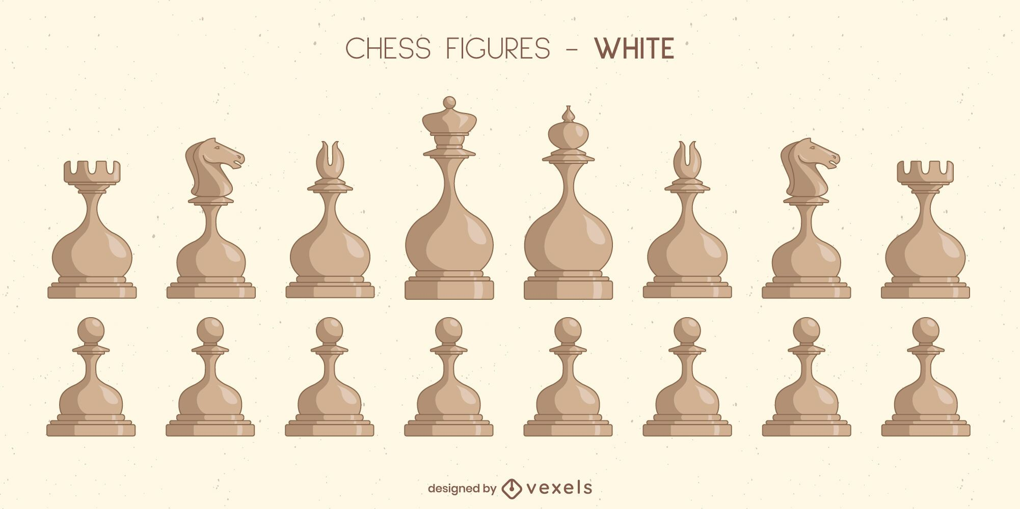 Rounded chess pieces illustration set
