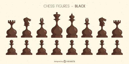 Juego de piezas de ajedrez redondeadas negro