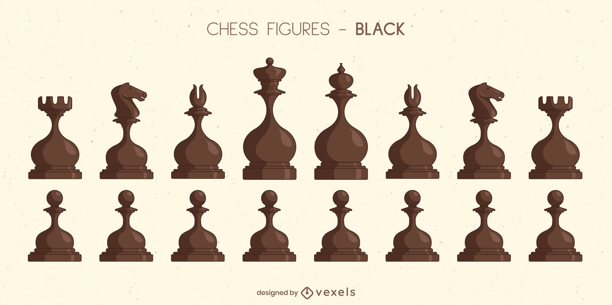 Rounded chess pieces black set