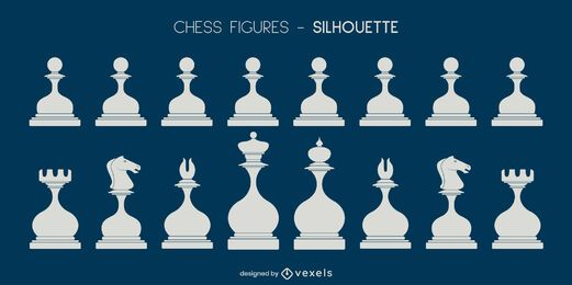 Conjunto de siluetas de piezas de ajedrez redondeadas blancas