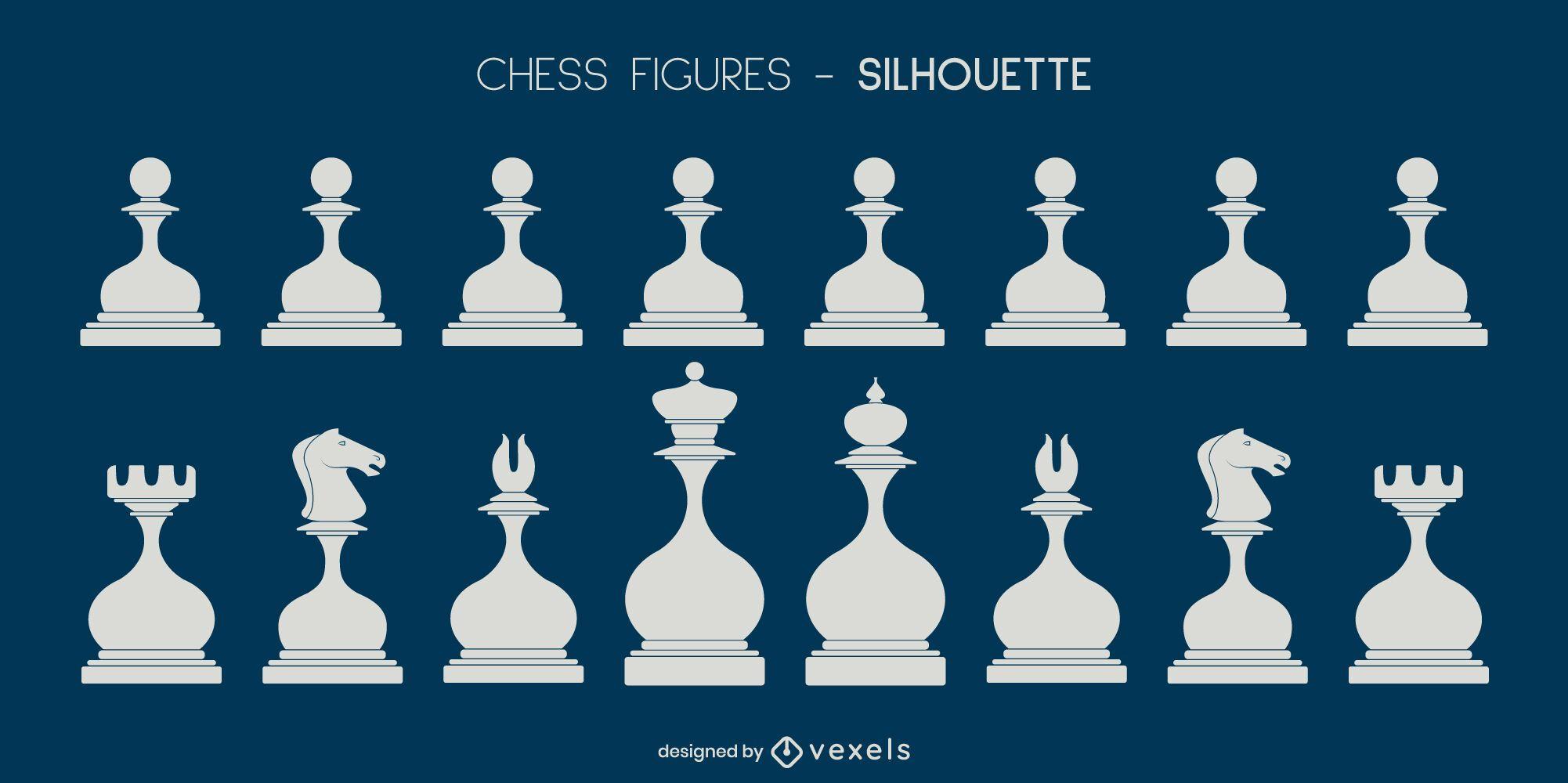 Set aus weißen, abgerundeten Schachfiguren-Silhouetten