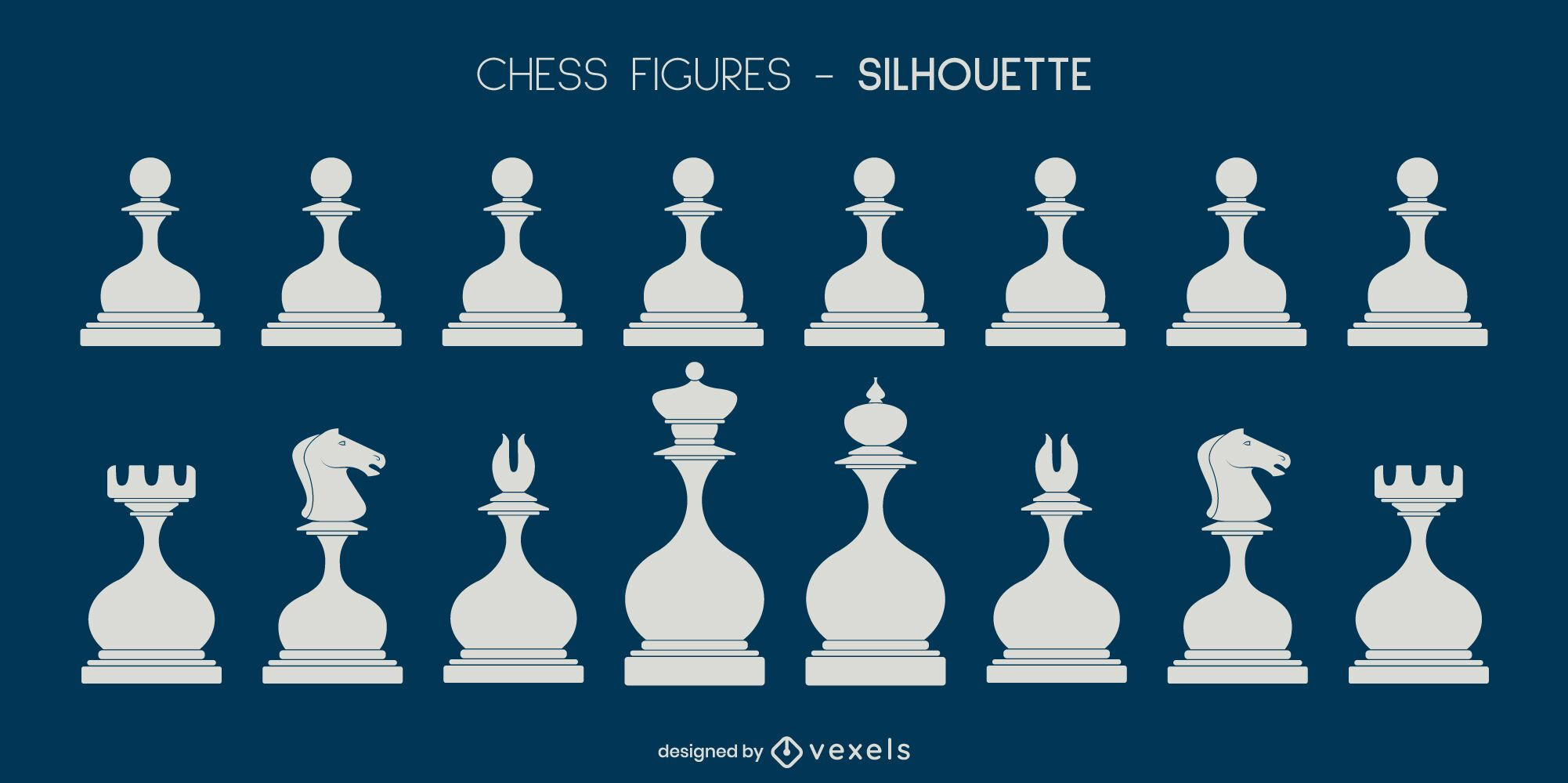 Set of white rounded chess pieces silhouettes