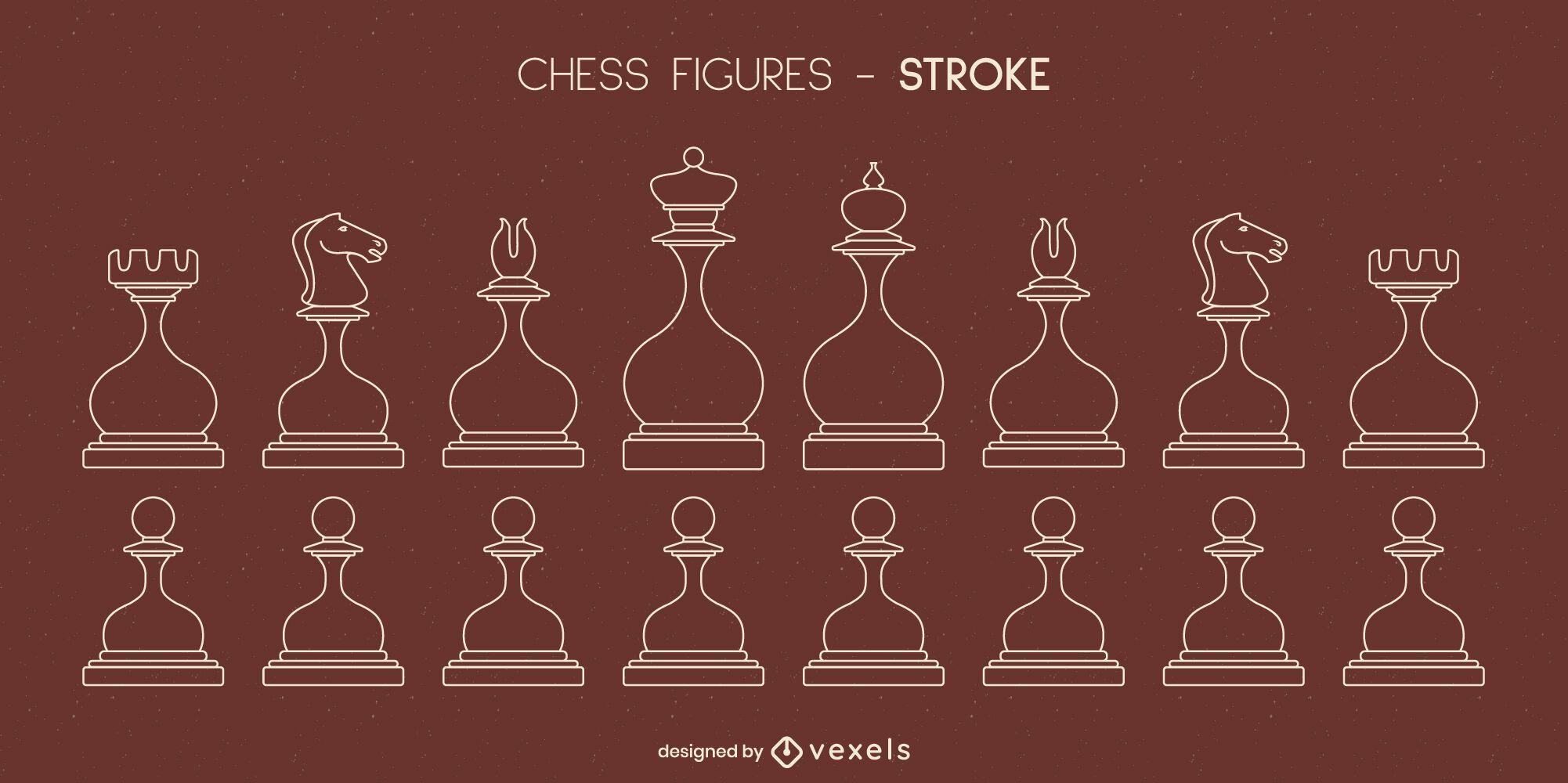 Conjunto de trazo de piezas de ajedrez redondeadas.