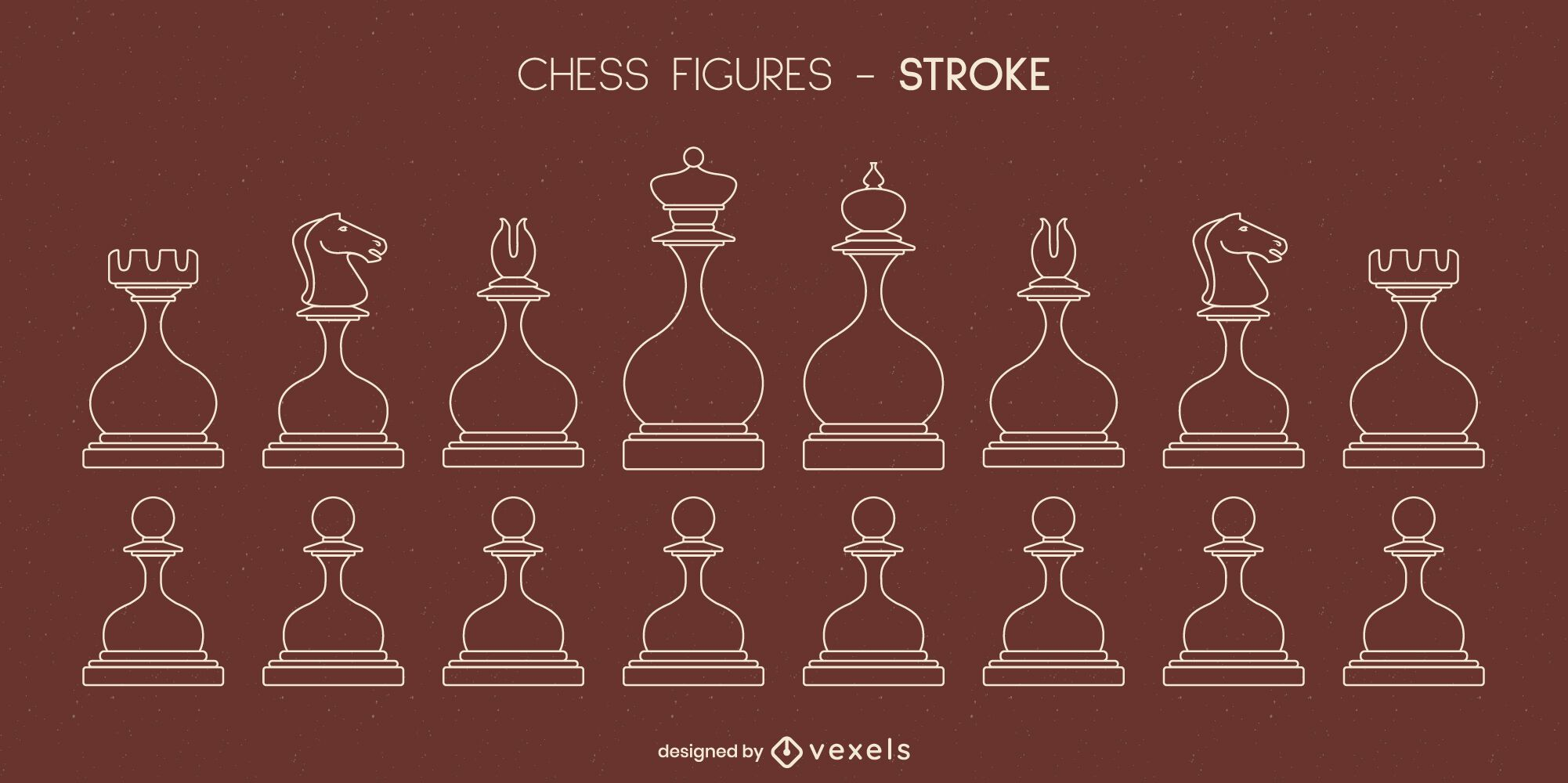Set of rounded chess pieces stroke