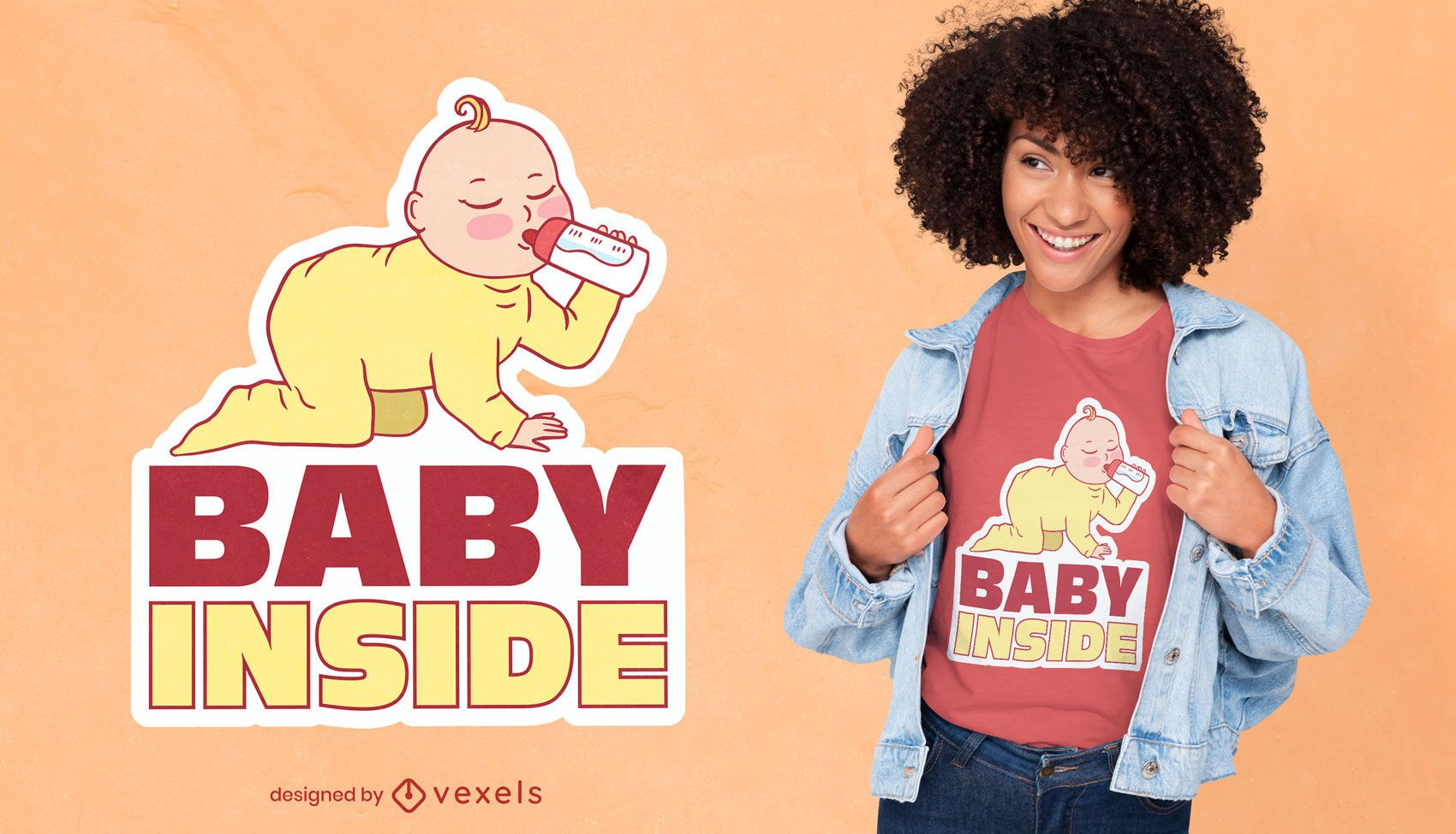 Bebê dentro do design da camiseta da gravidez