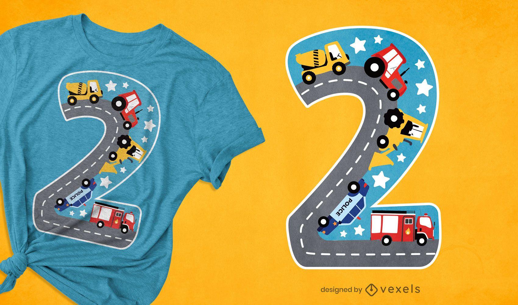 Diseño de camiseta número dos en edad infantil.