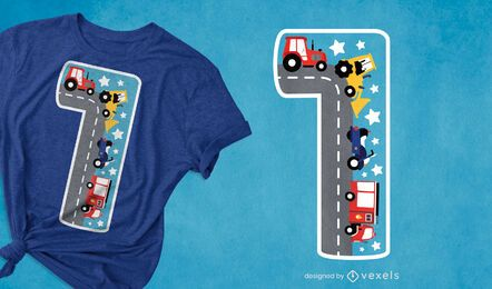 Diseño de camiseta número uno para niños