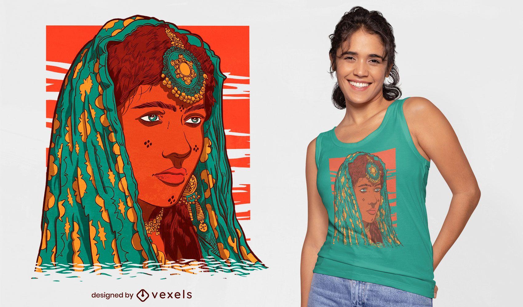 Diseño de camiseta de tatuaje facial de mujer del sur de Asia