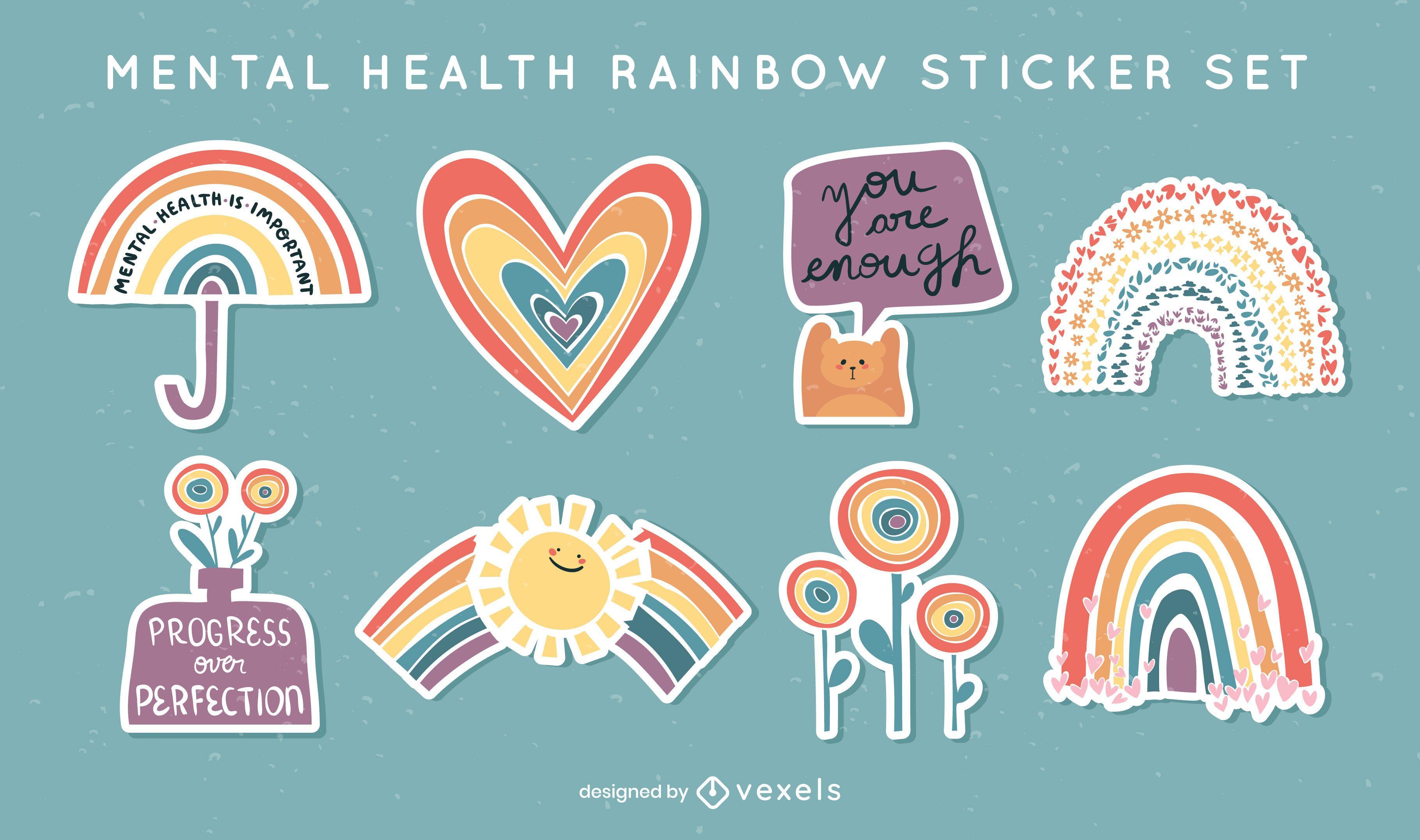 Mental health rainbows sticker set