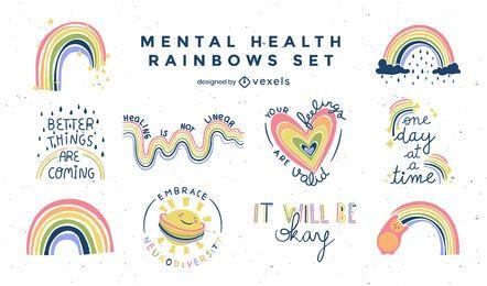 Mental health rainbows flat badges set
