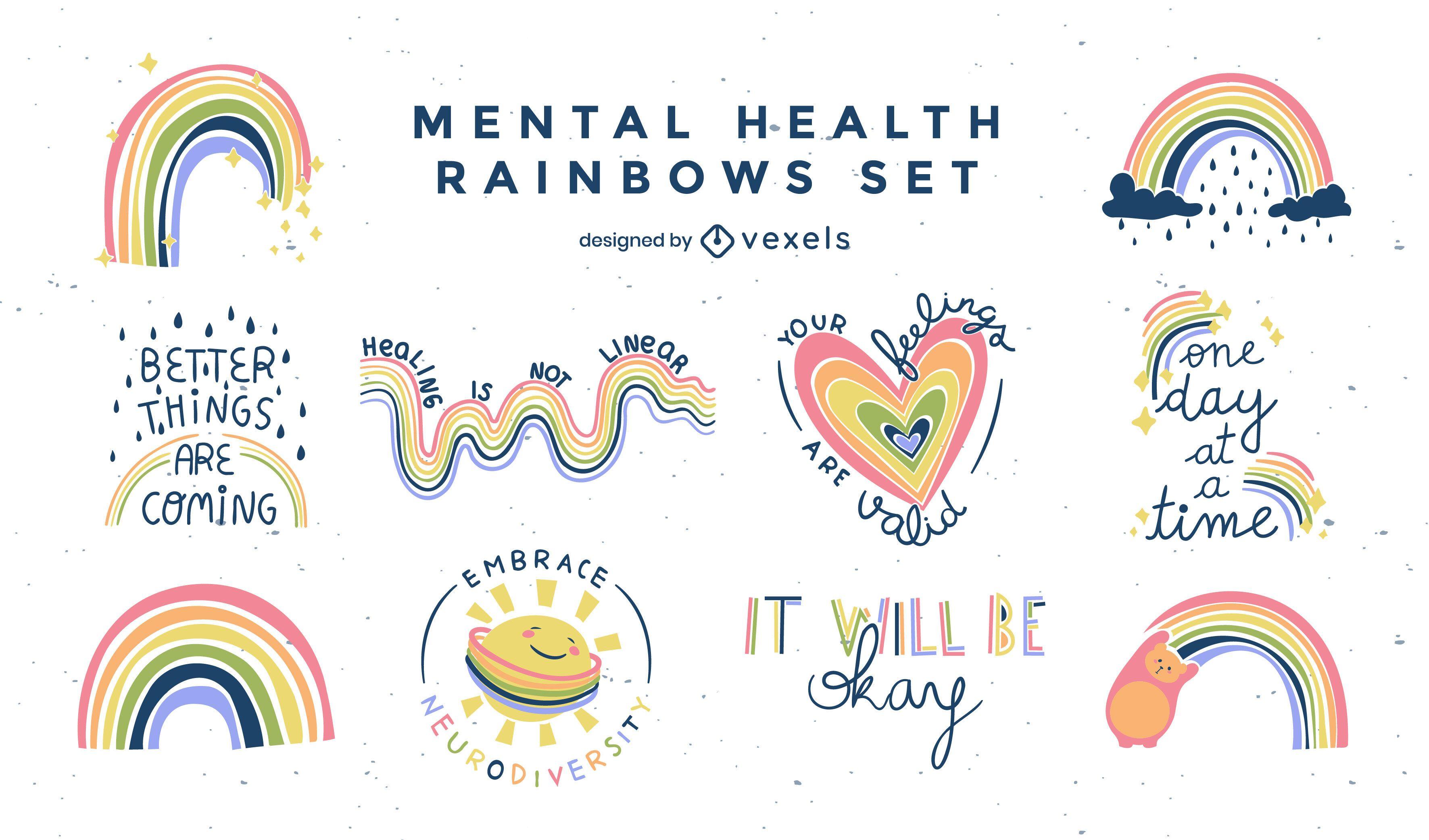 Conjunto de insignias planas de arco iris de salud mental.