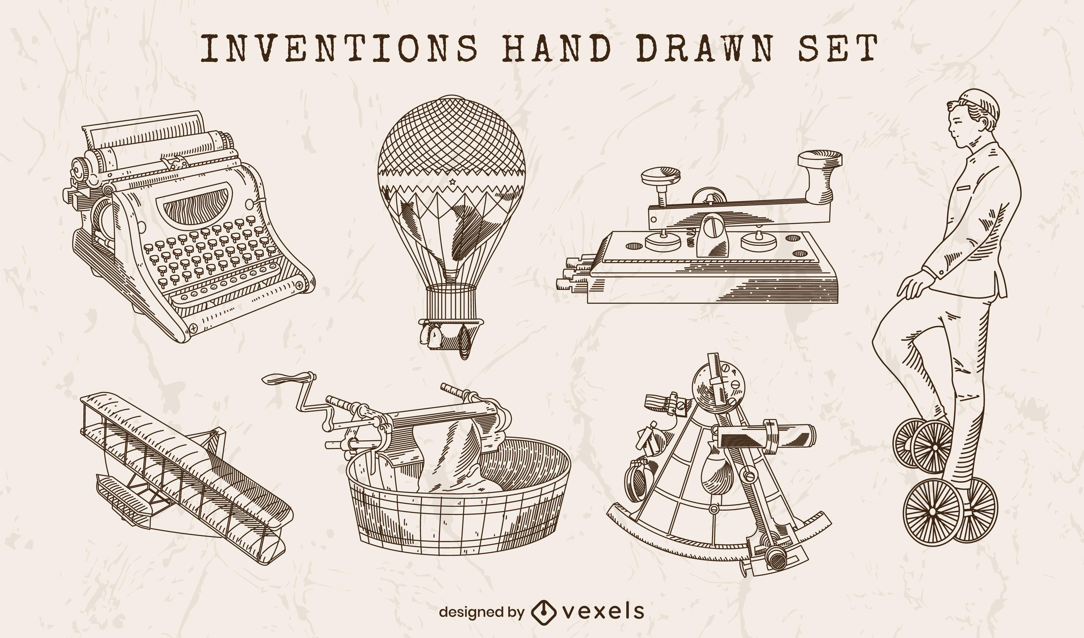 Conjunto de elementos desenhados à mão de invenções