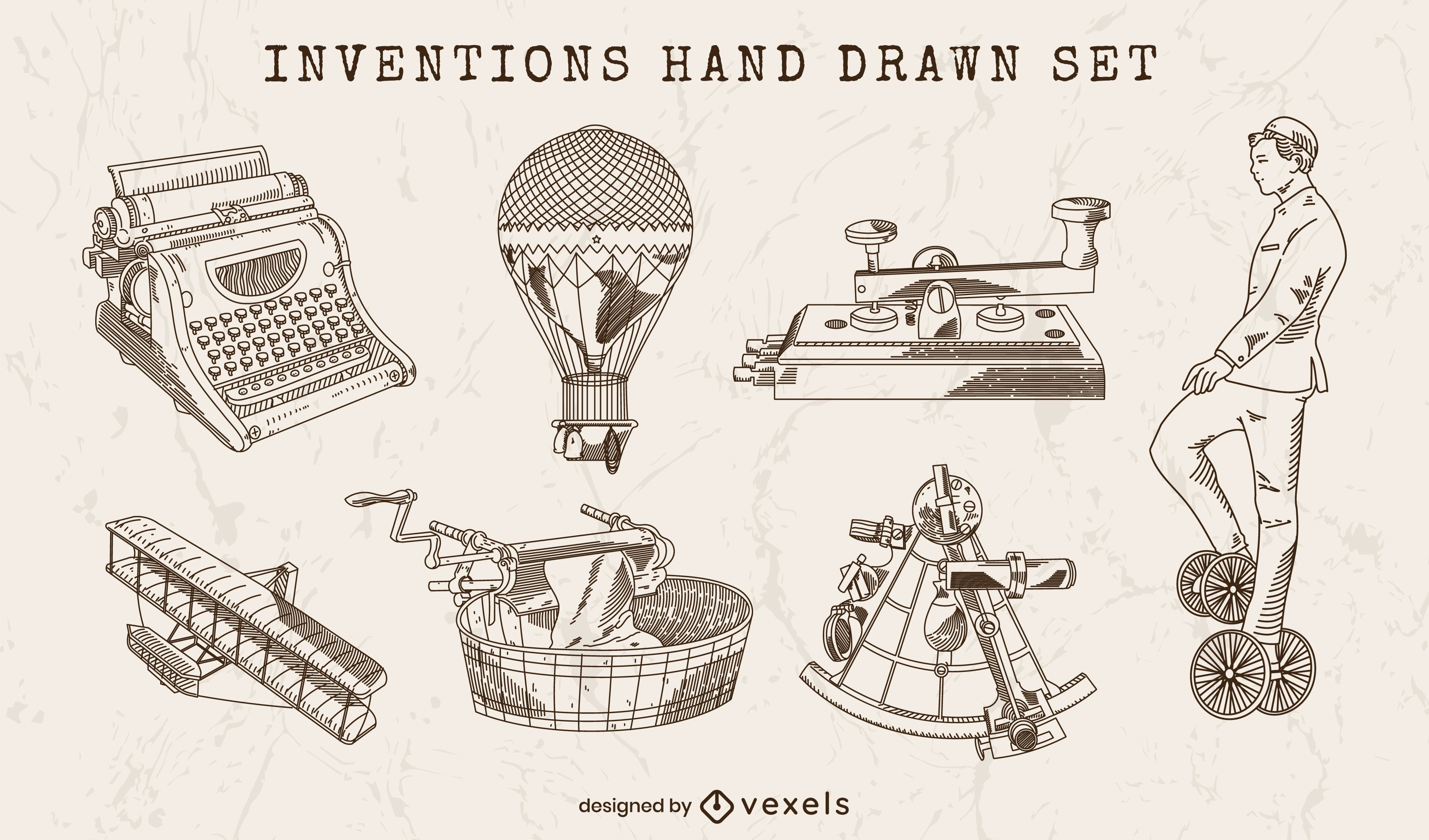Inventions hand drawn set of elements