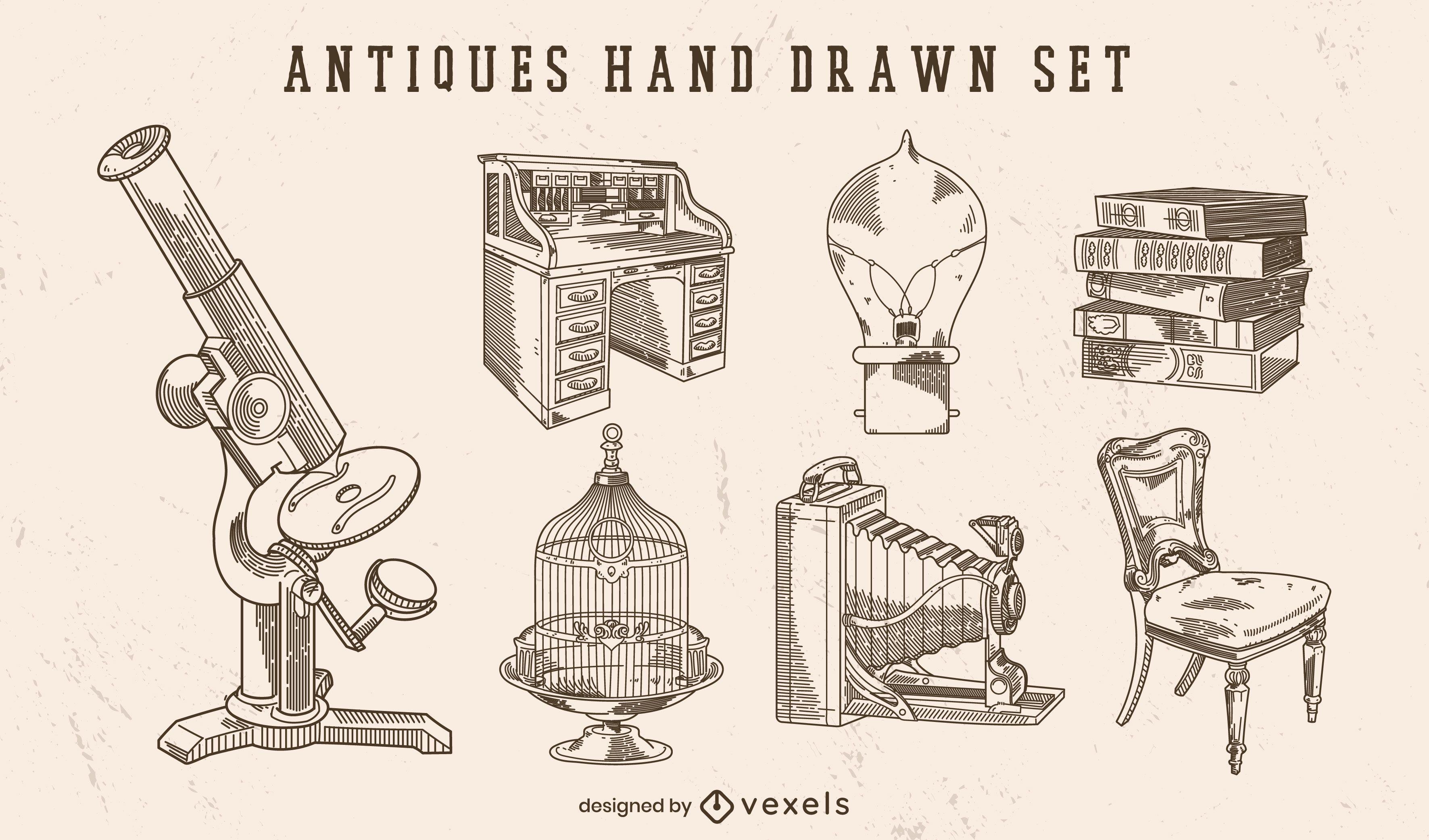 Antiguidades desenhadas à mão com um conjunto de elementos