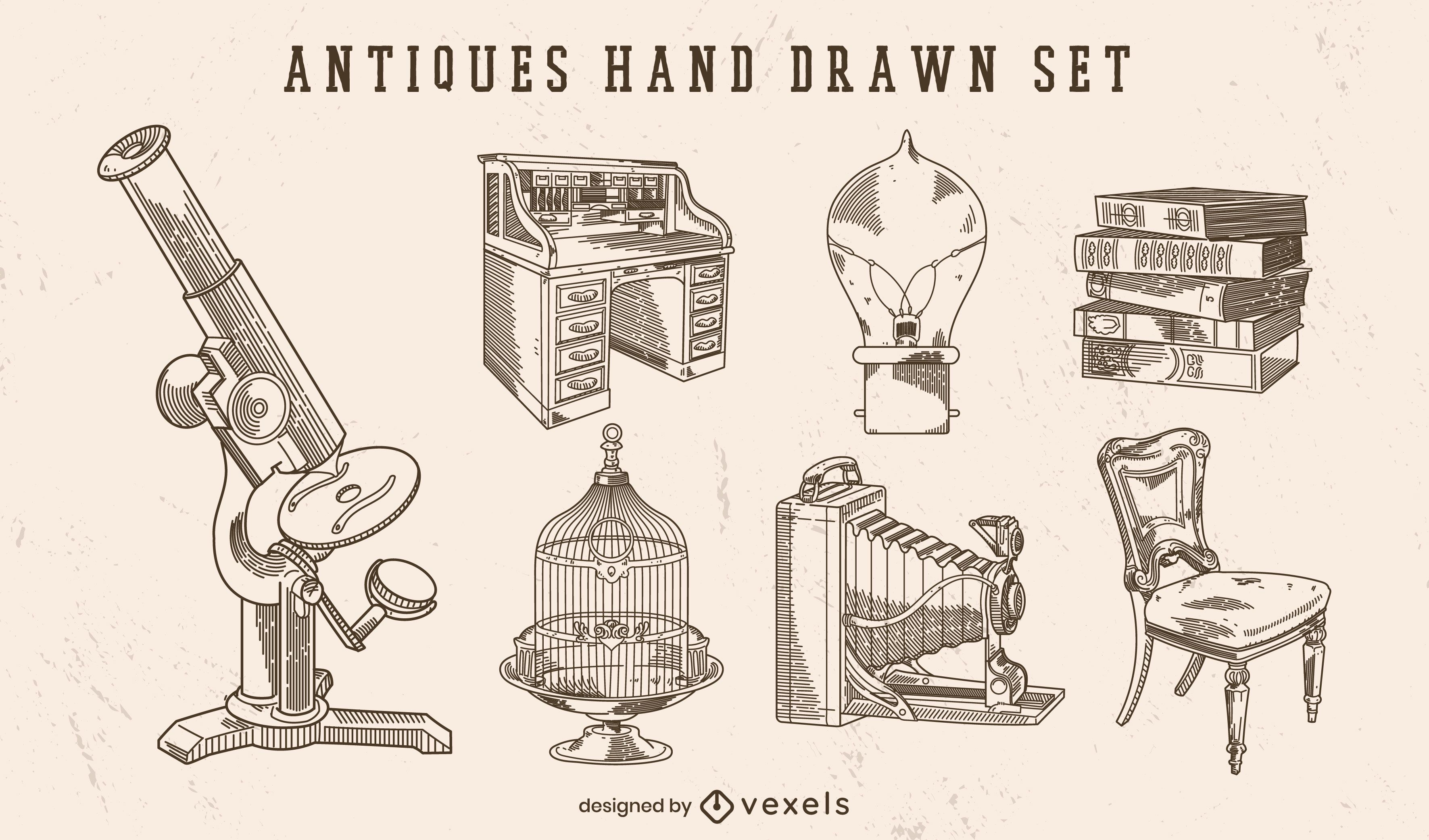 Antiques hand drawn set of elements