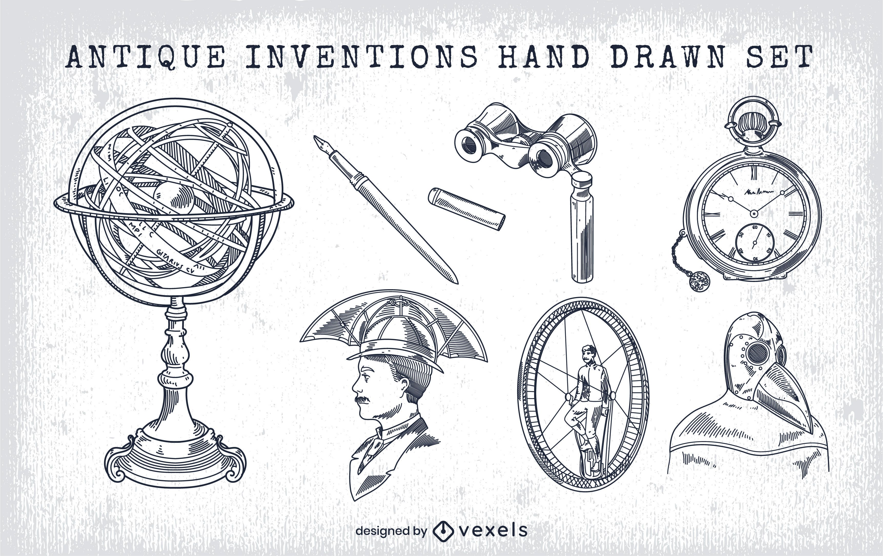 Hand drawn vintage inventions