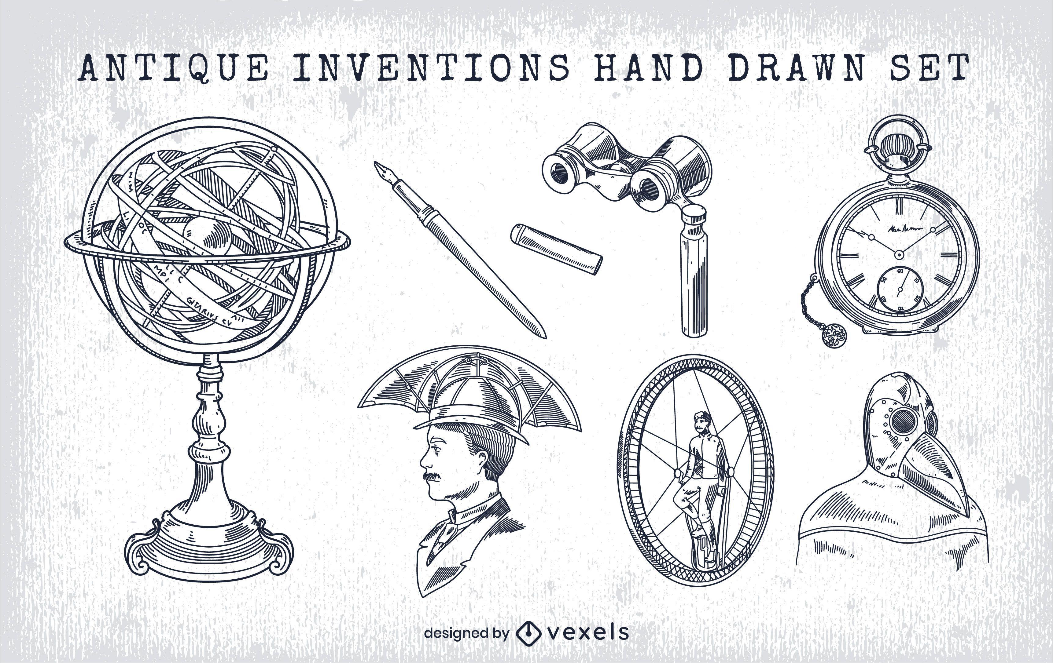 Inventos vintage dibujados a mano