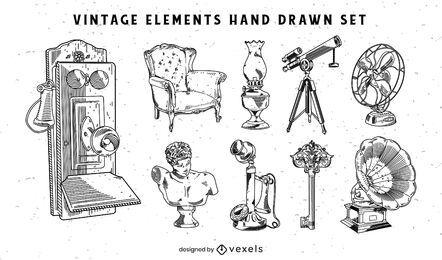 Objetos vintage dibujados a mano