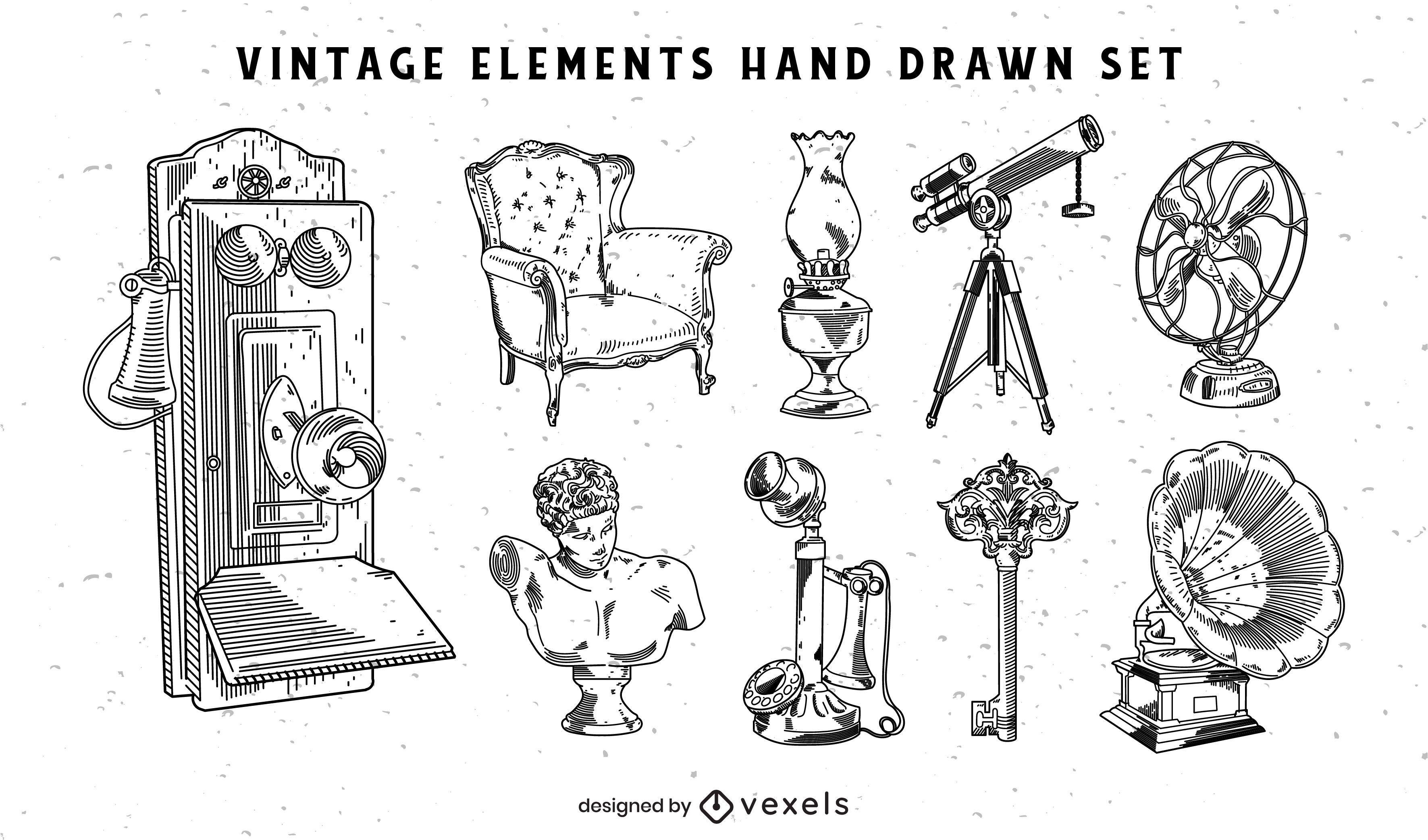 Objetos vintage desenhados à mão