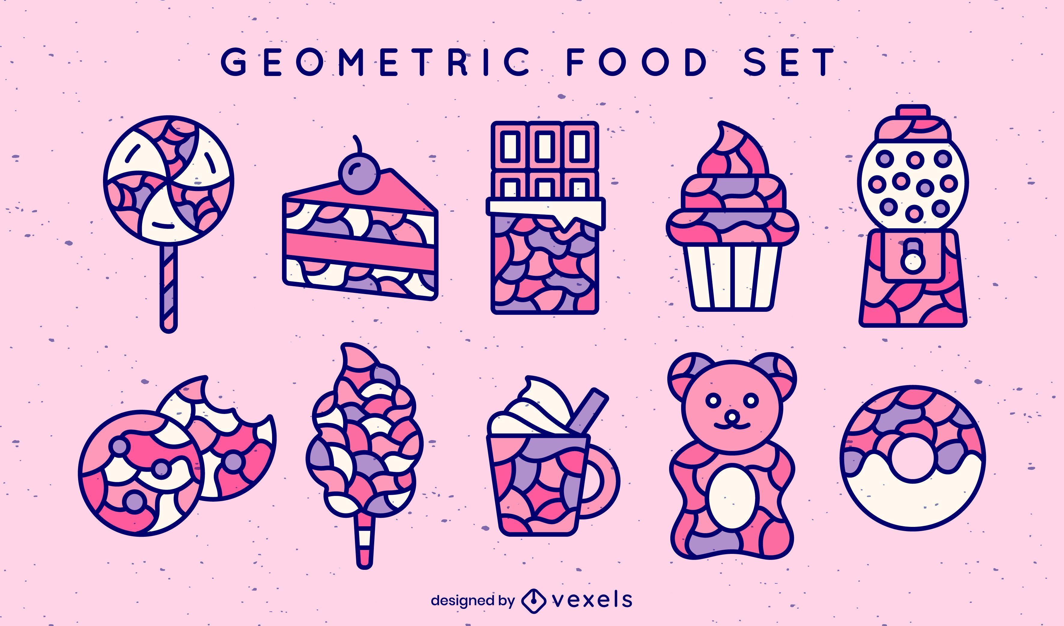 Conjunto de trazos de color de comida geométrica
