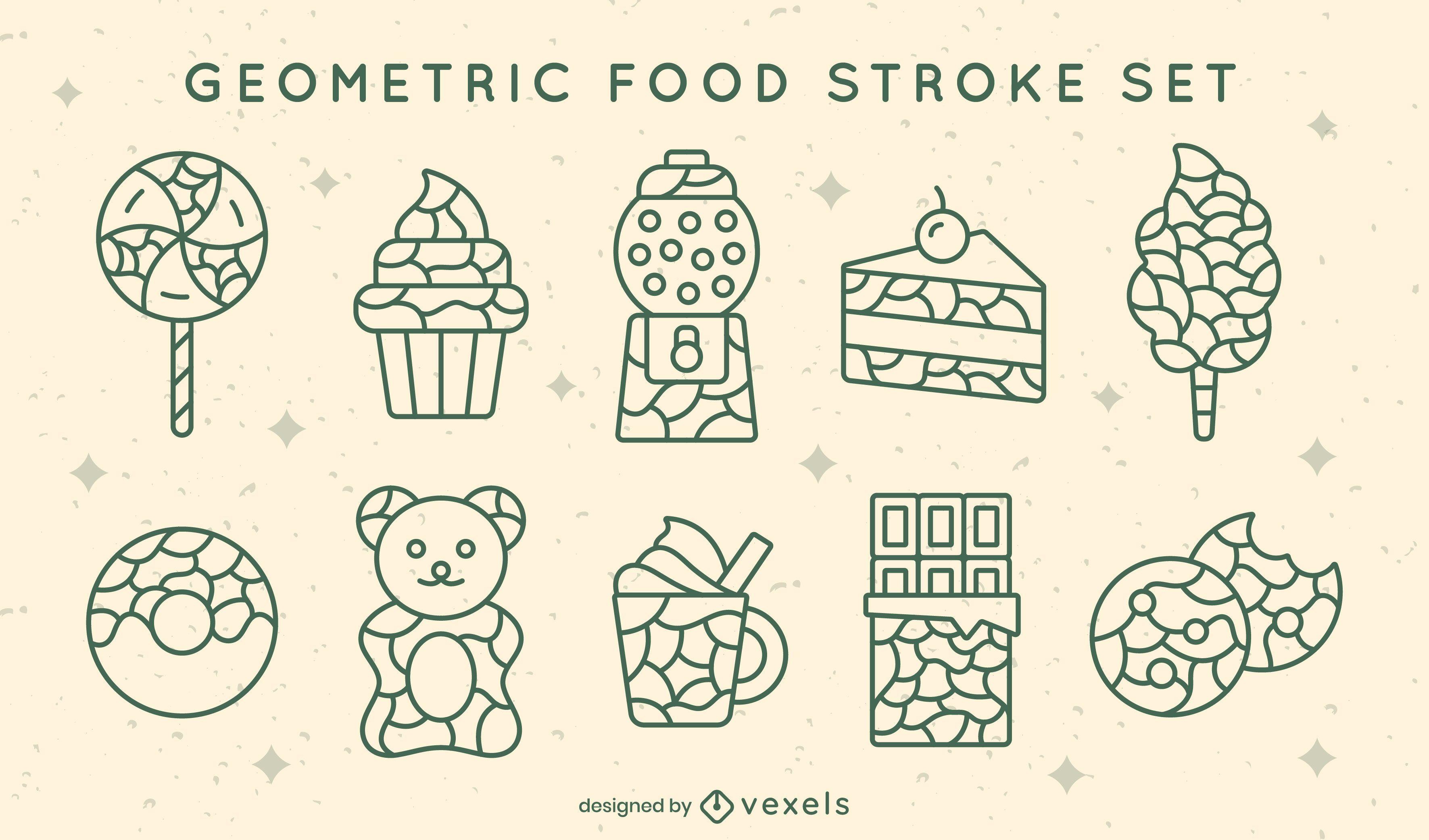 Conjunto de trazo de comida geométrica