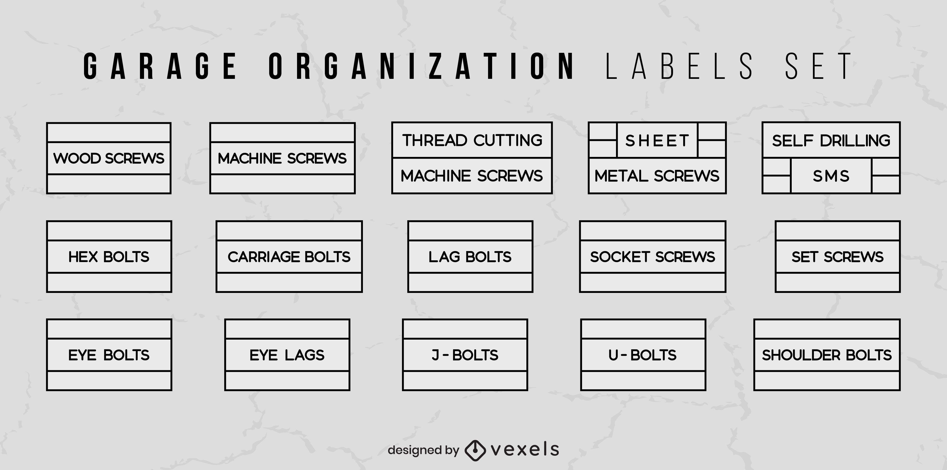 Conjunto de rótulos de organização de armazenamento de garagem