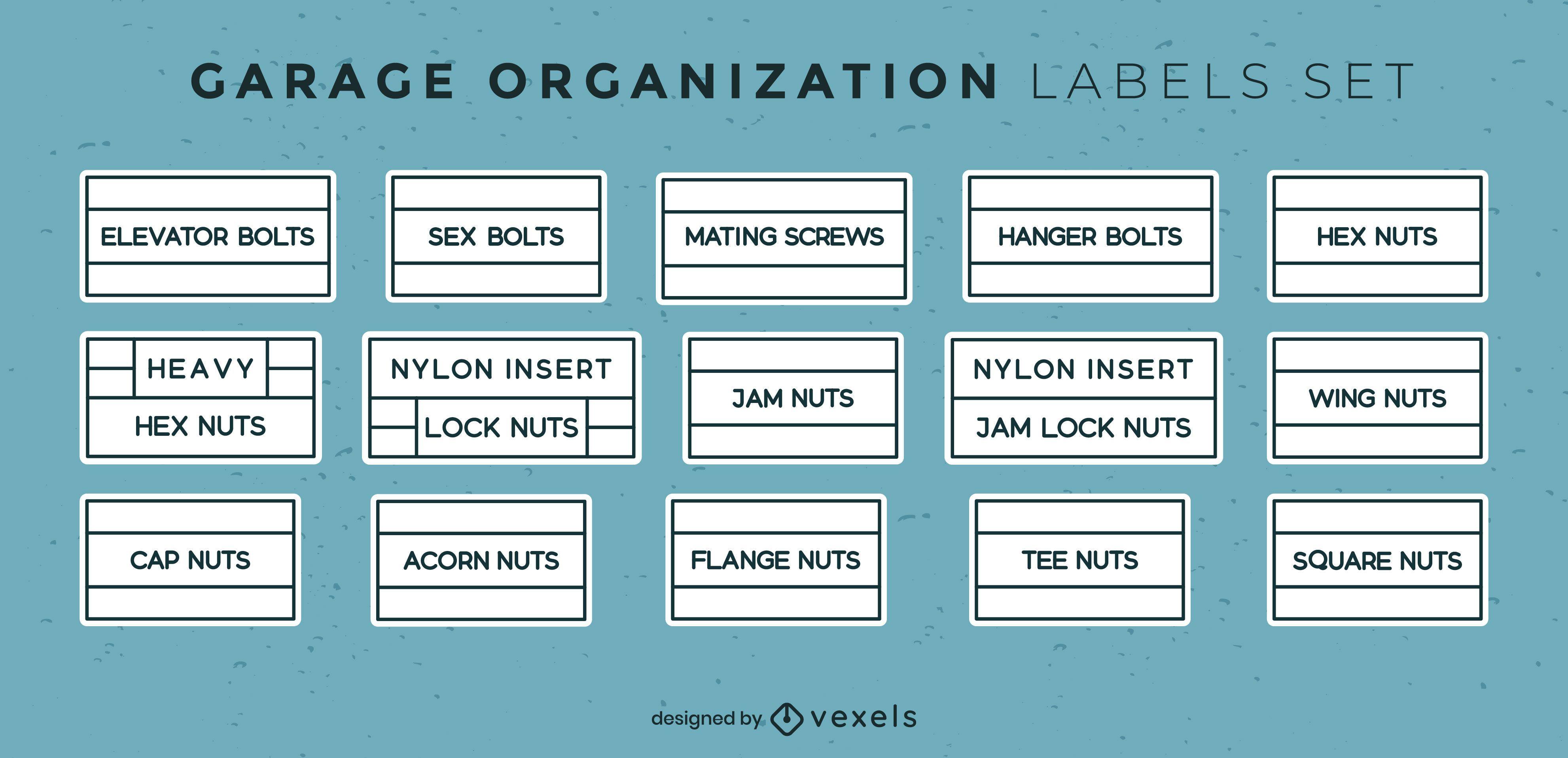 Conjunto de rótulos de organização de garagem de armazenamento