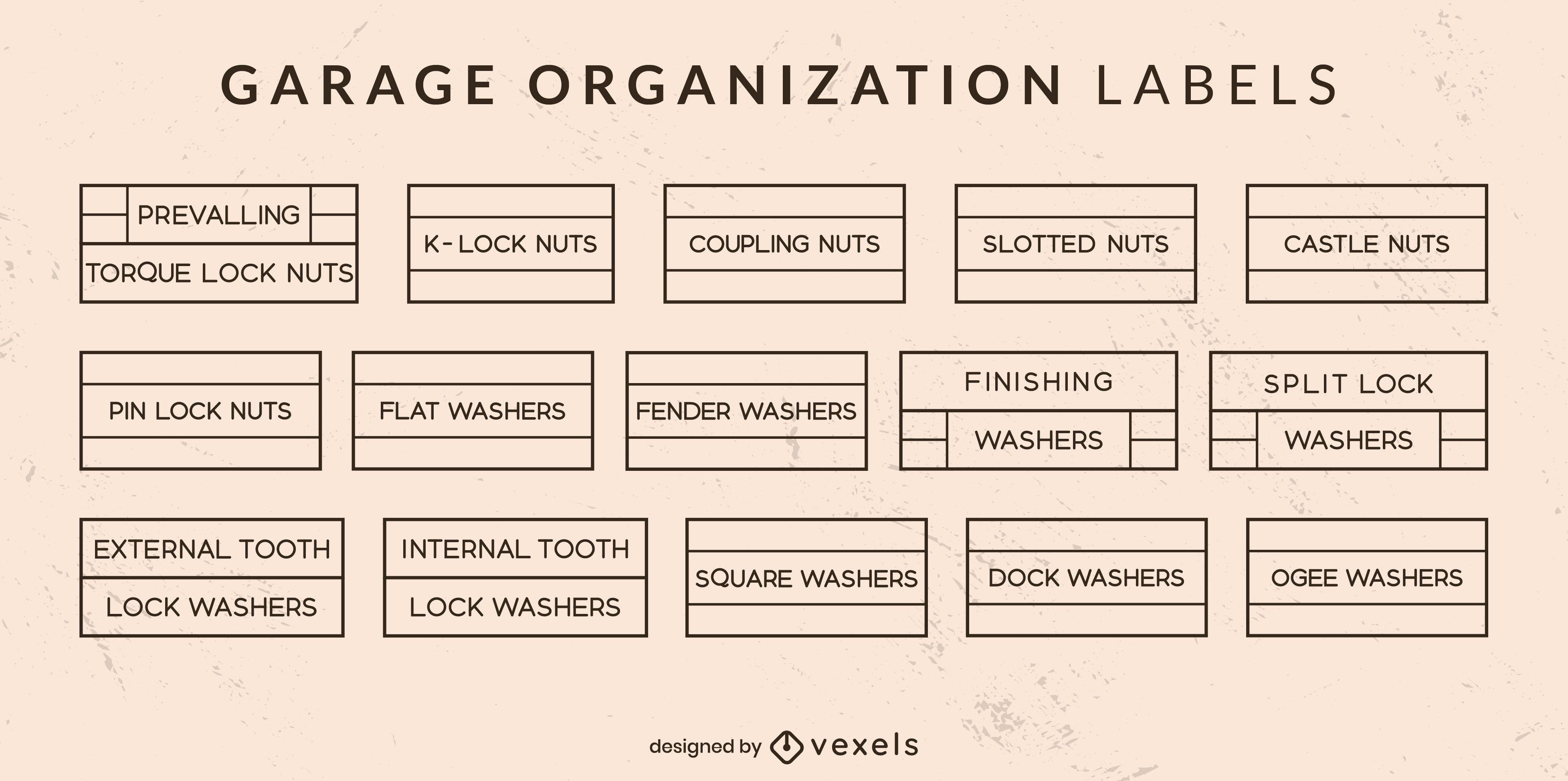 Conjunto de arte de línea de etiquetas de organización de garaje