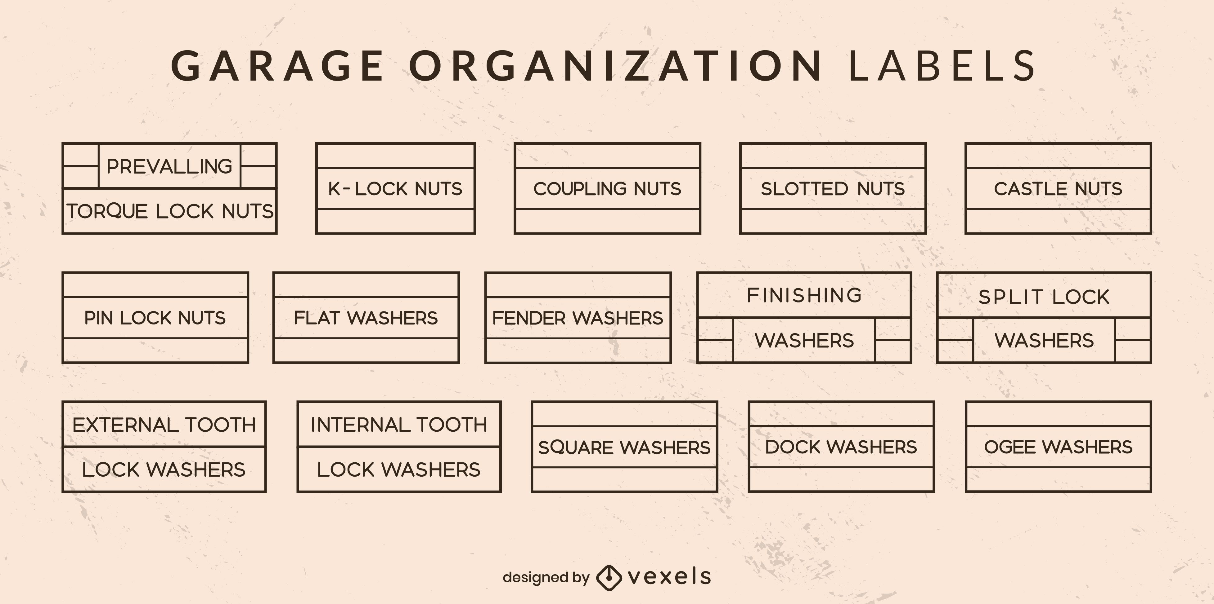 Garage organization labels line art set