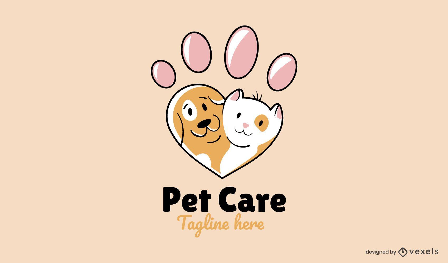 Design de logotipo de coração de pata fofa de gato e cachorro