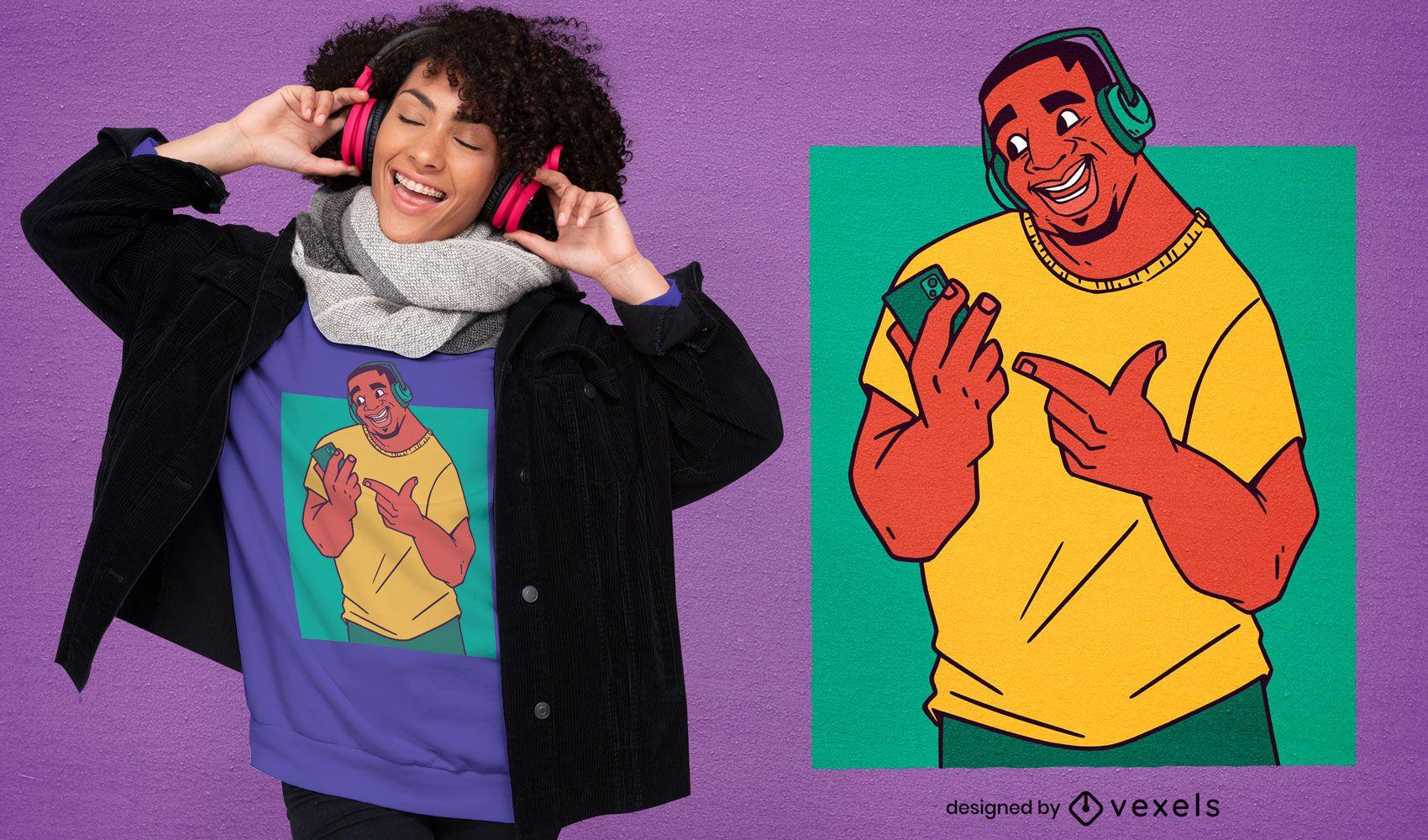 Hombre escuchando música diseño de camiseta