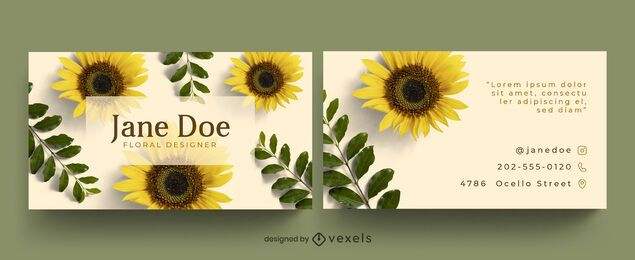 Business card sunflowers template