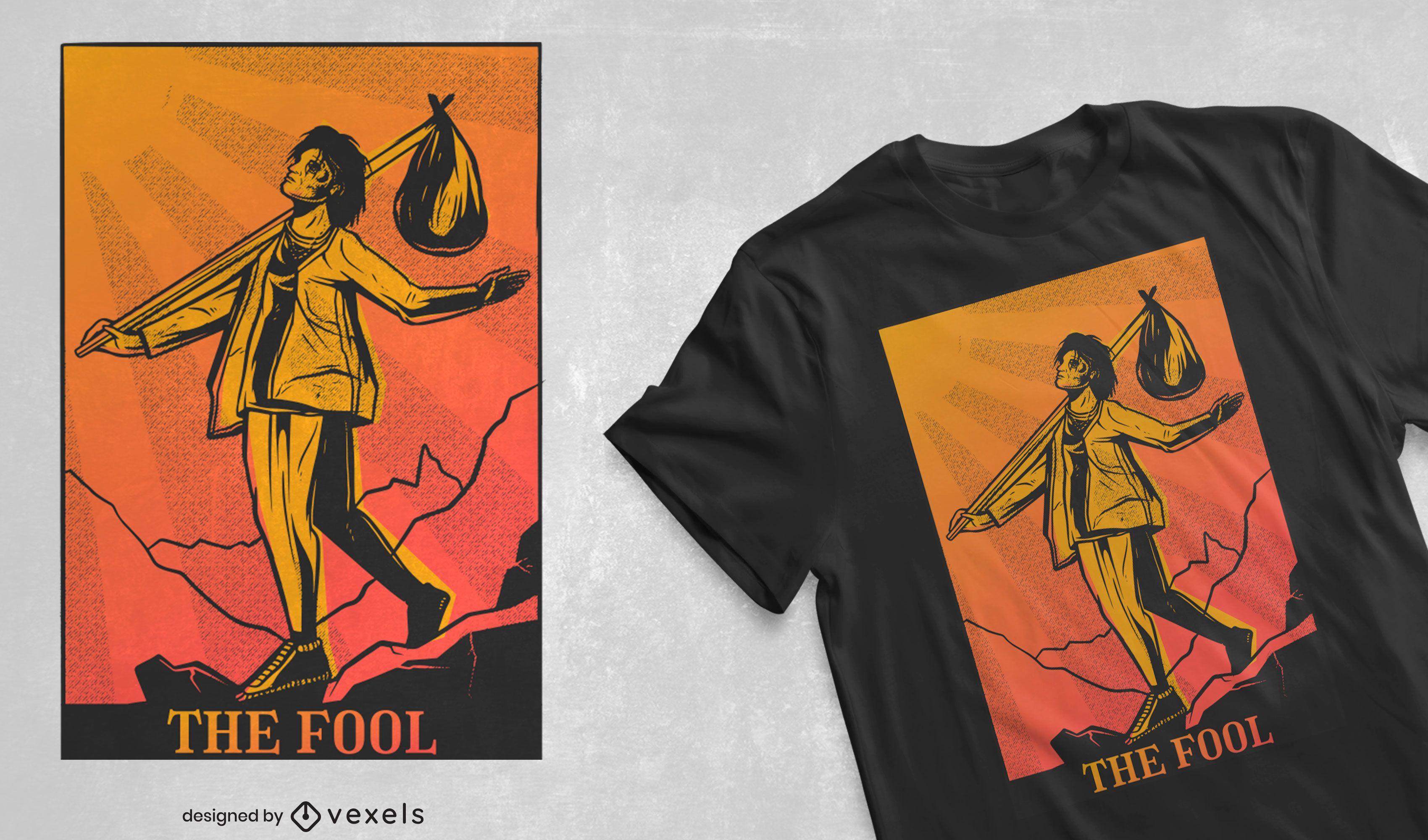 El diseño de la camiseta de la carta del tarot tonto