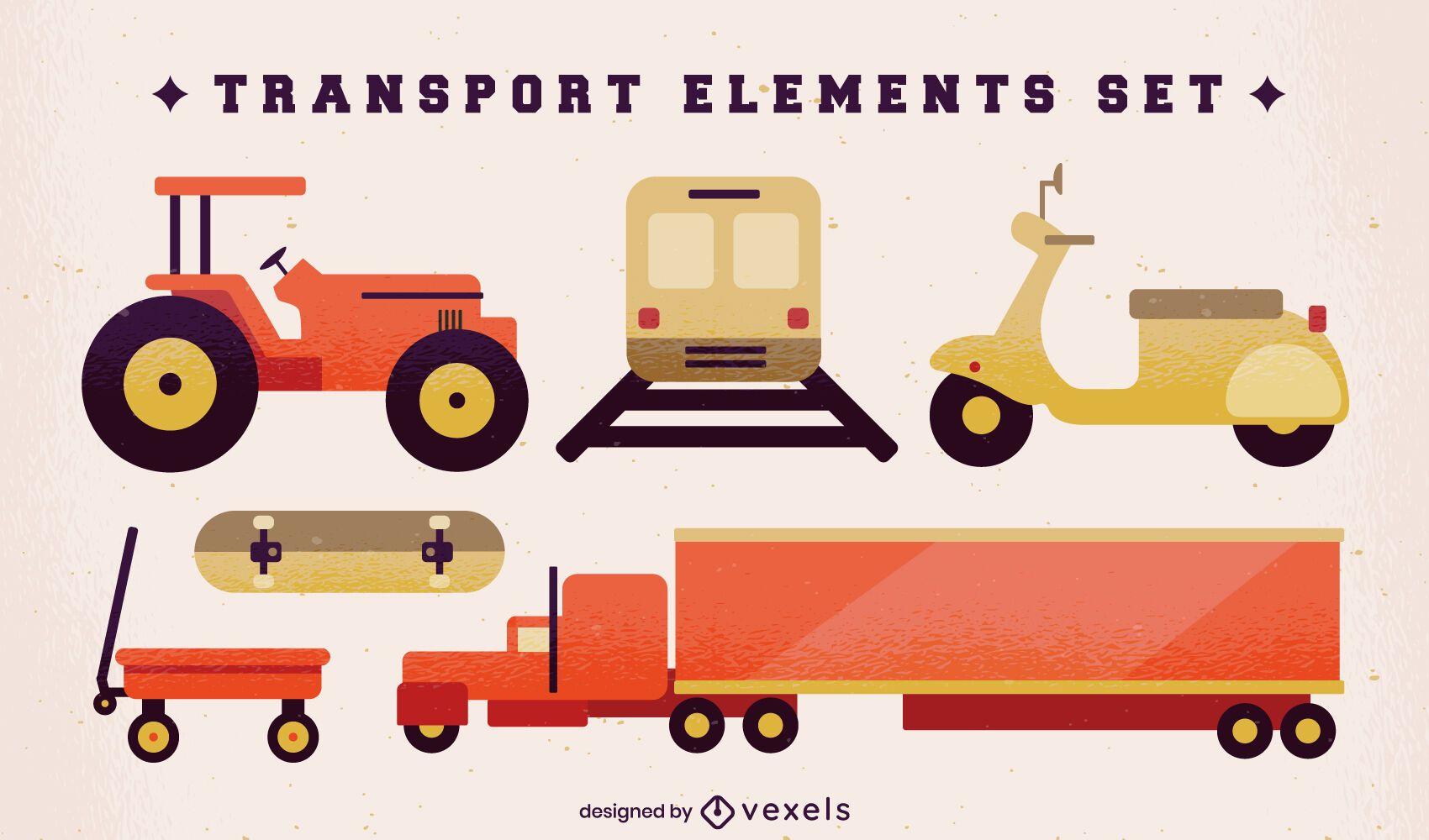 Semi flat set of transport elements