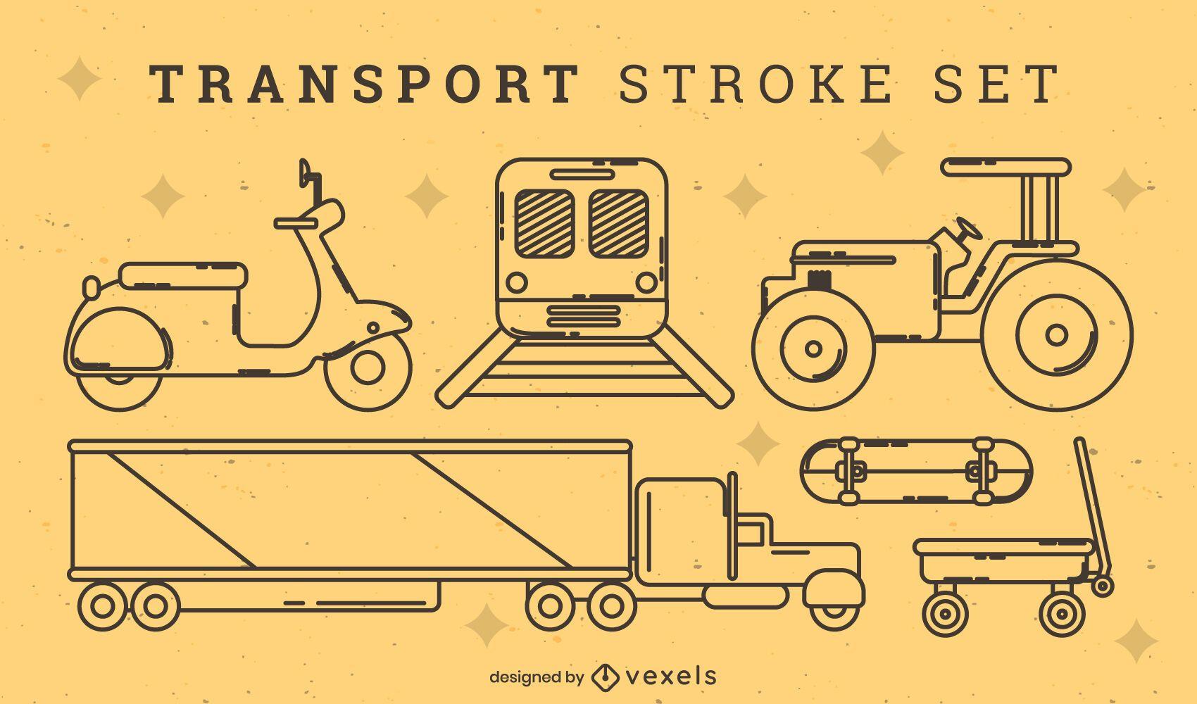 Conjunto de traços de elementos de transporte