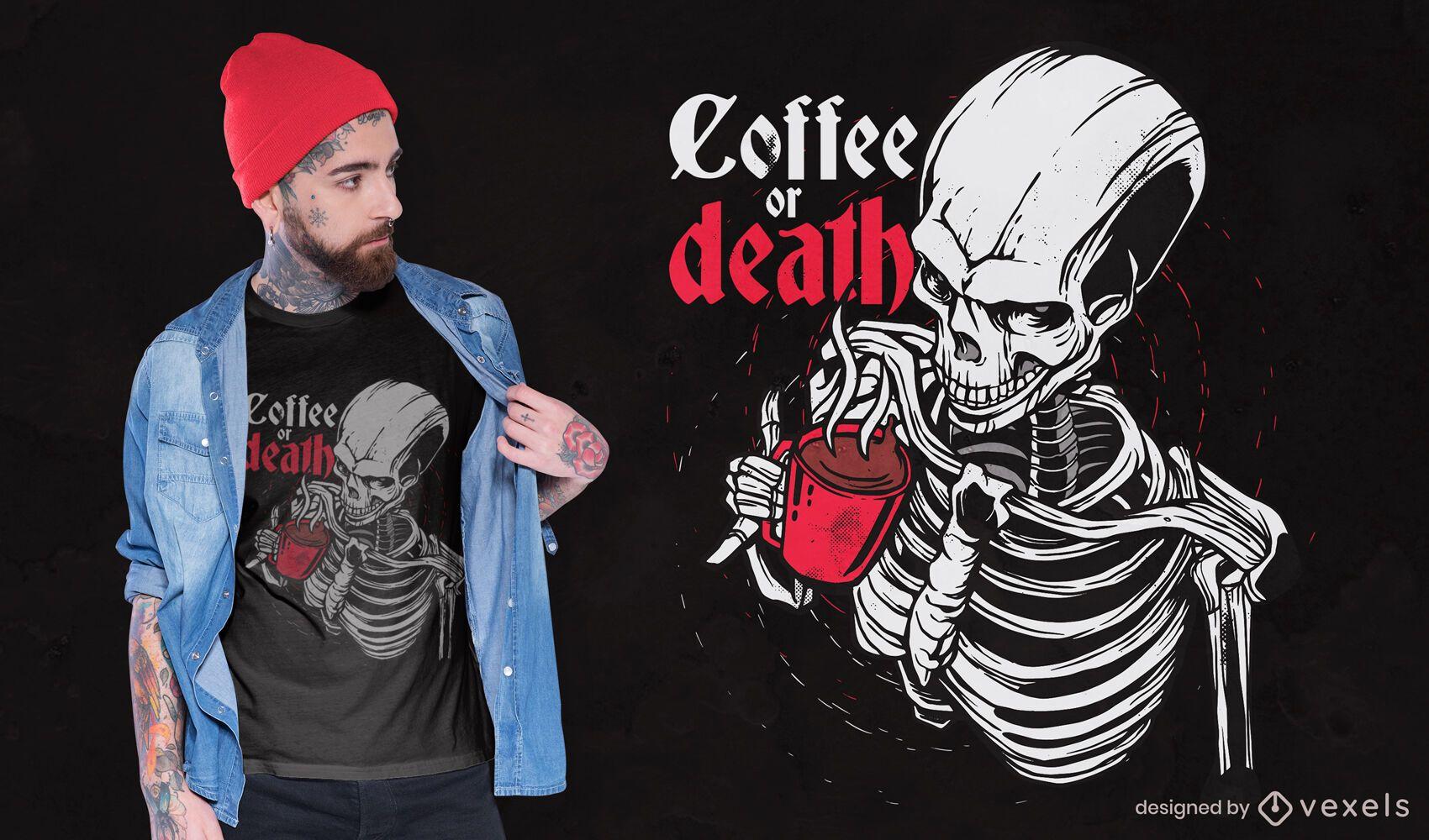 Dise?o de camiseta esqueleto bebiendo caf?.