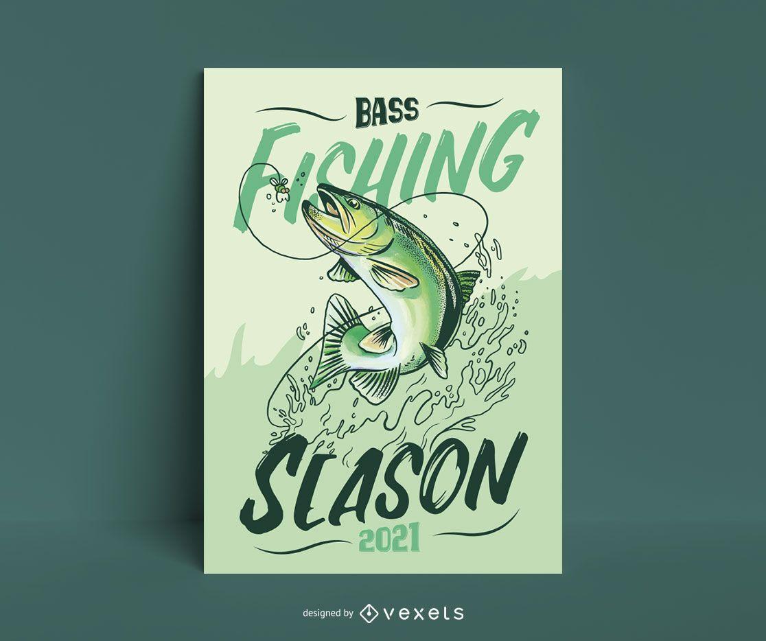 Bass fishing season poster template