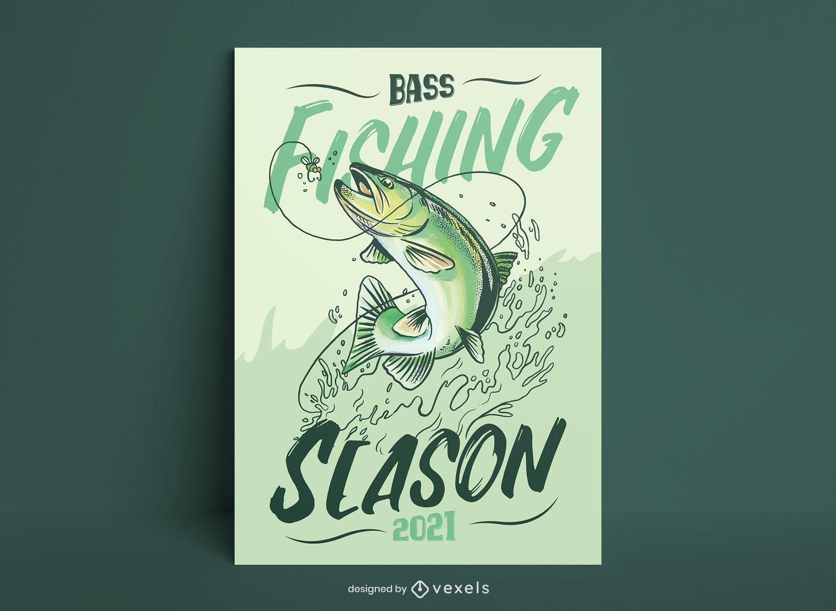 Plantilla de cartel de temporada de pesca de lubina