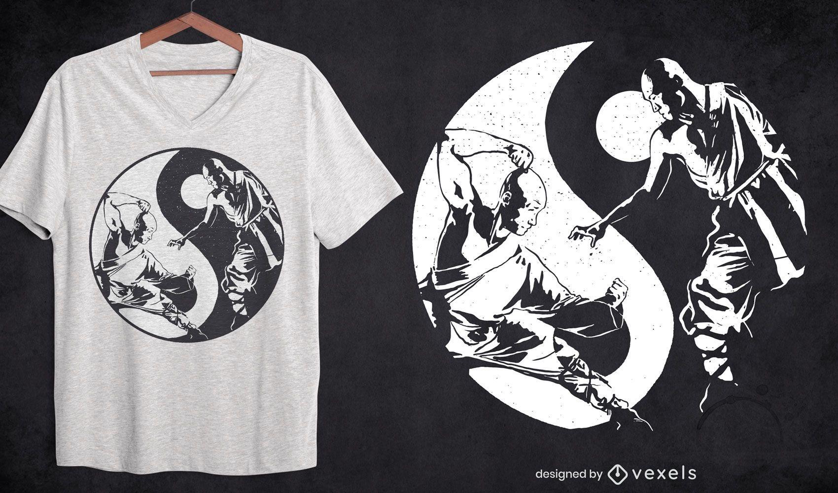 Dise?o de camiseta deportiva de artes marciales yin yang.