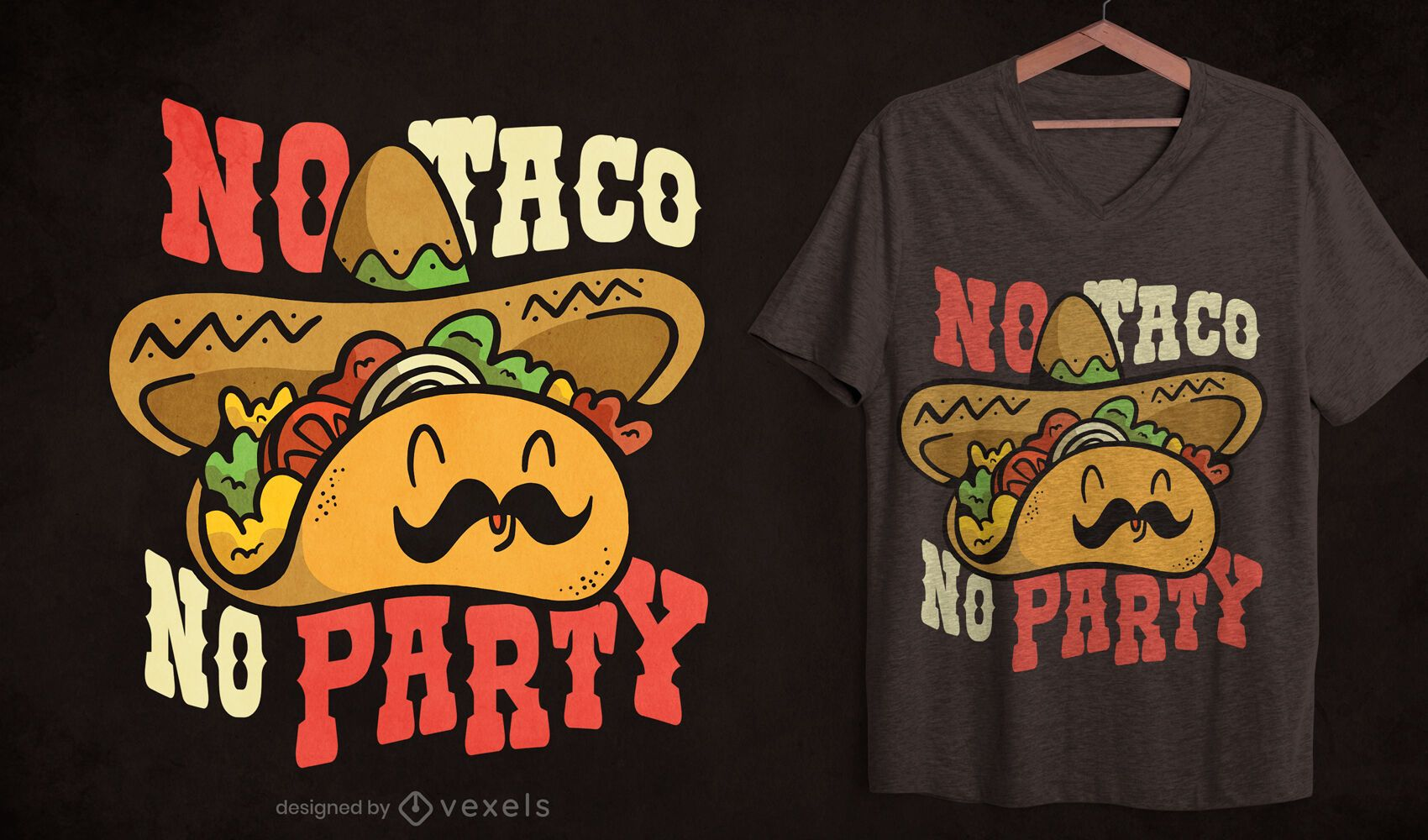 Mexican taco party cartoon t-shirt design