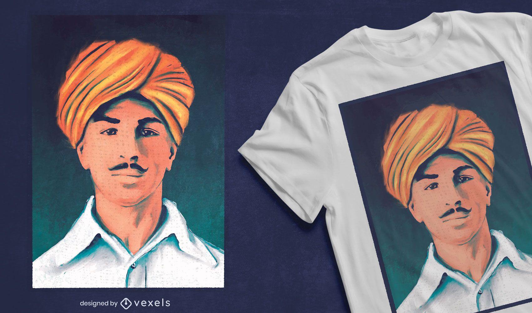 Diseño de camiseta de retrato indio Bhagat Singh