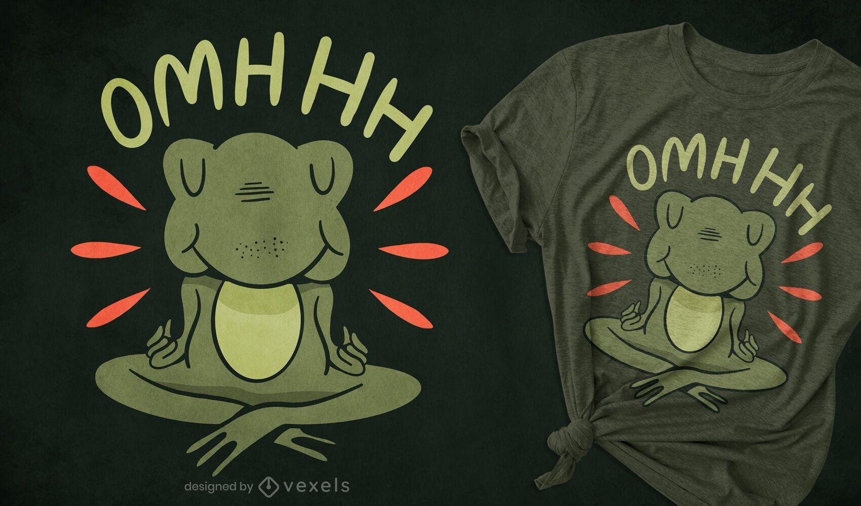 Diseño de camiseta de dibujos animados de rana de meditación
