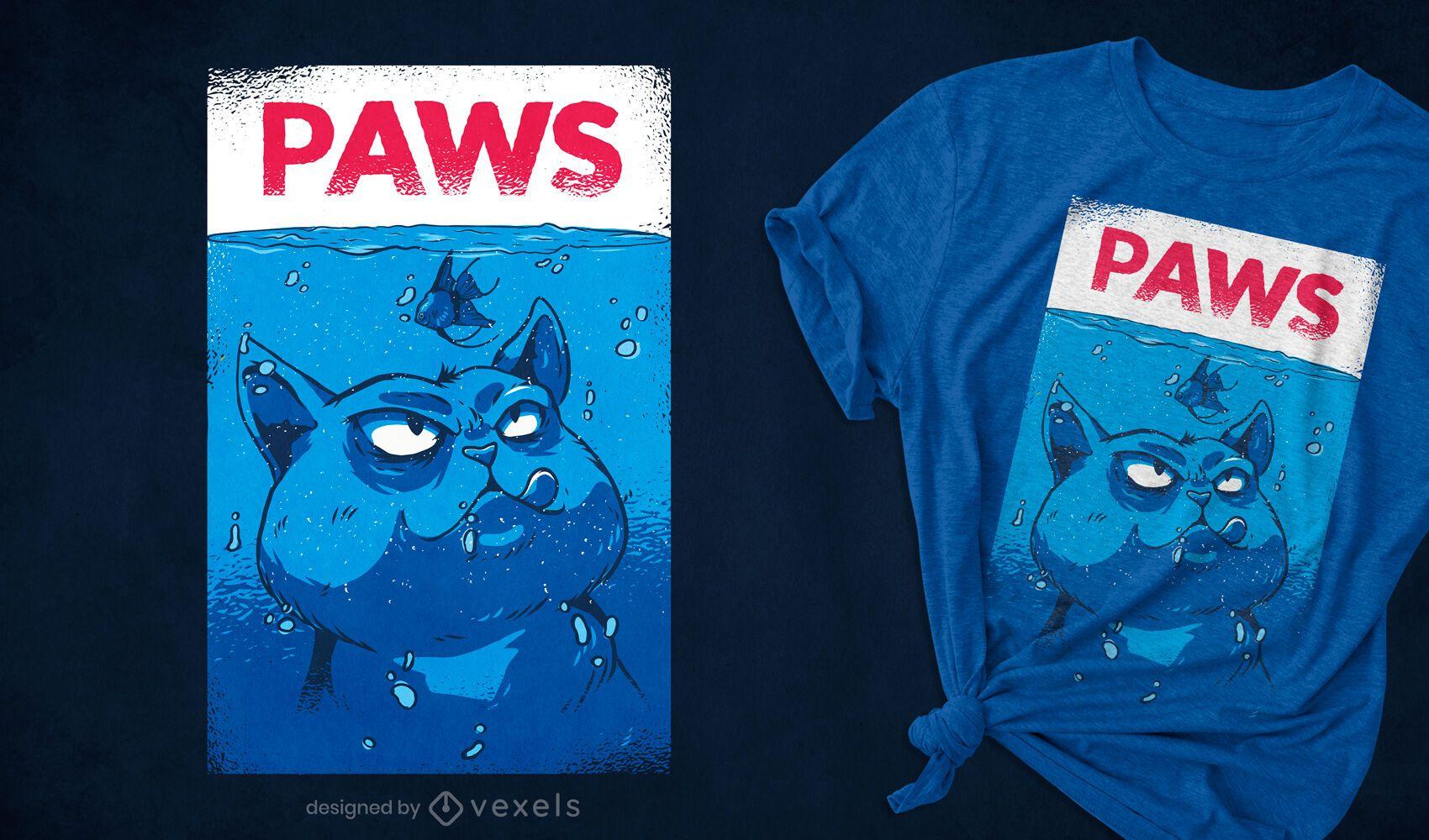 Design de t-shirt com paródia de gato subaquático zangado
