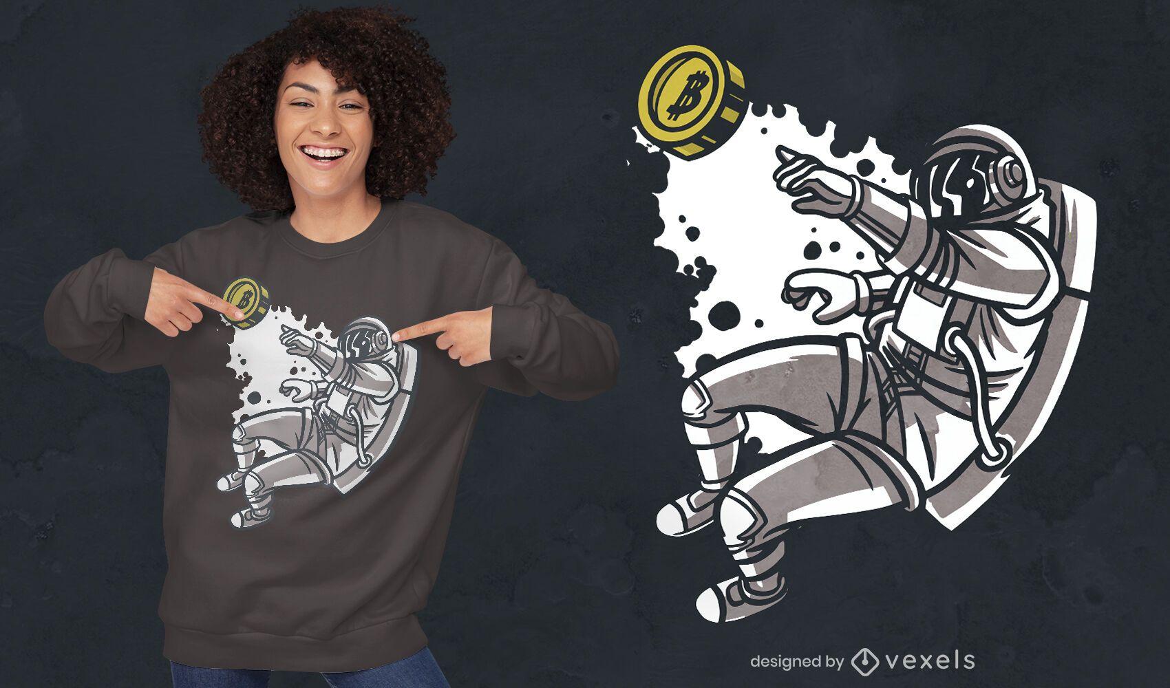 Fliegender Astronaut mit Bitcoin-T-Shirt-Design