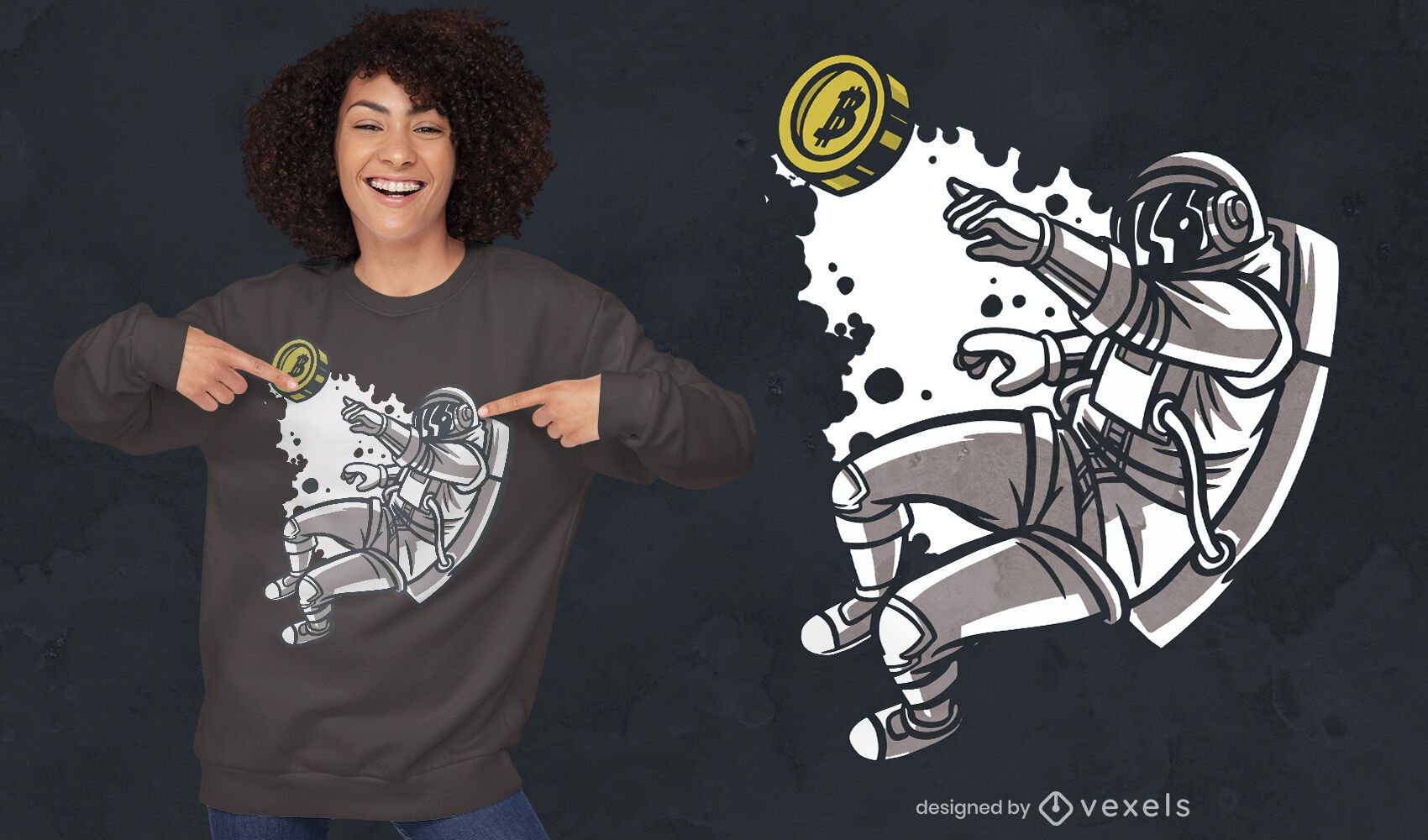 Flying astronaut with bitcoin t-shirt design