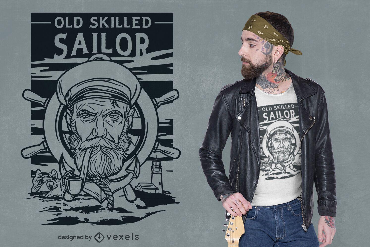 Dise?o de camiseta de Sailor Serious Face Line Art.