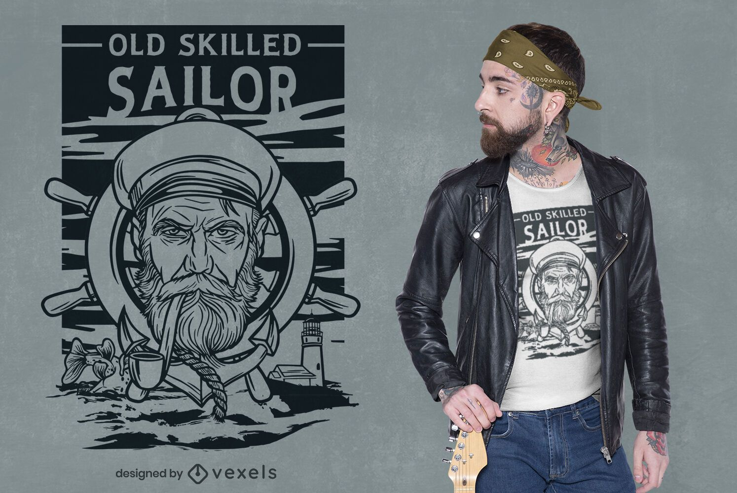 Sailor serious face line art t-shirt design