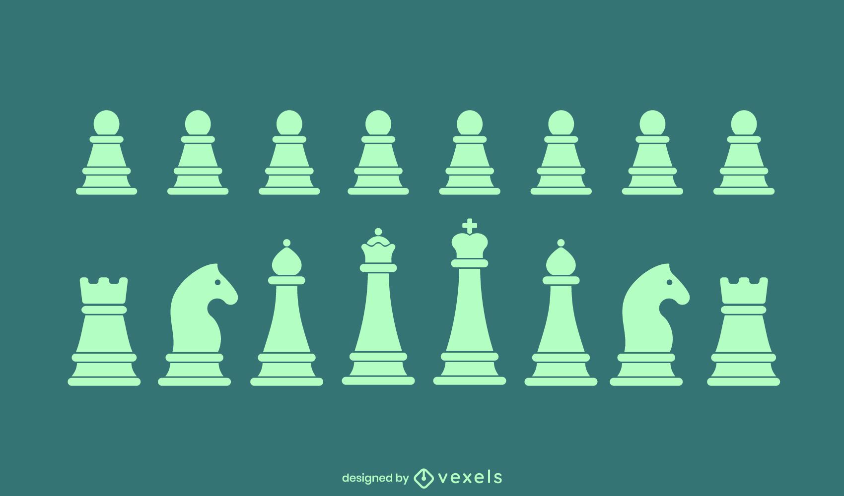 Chess simple pieces set of silhouettes